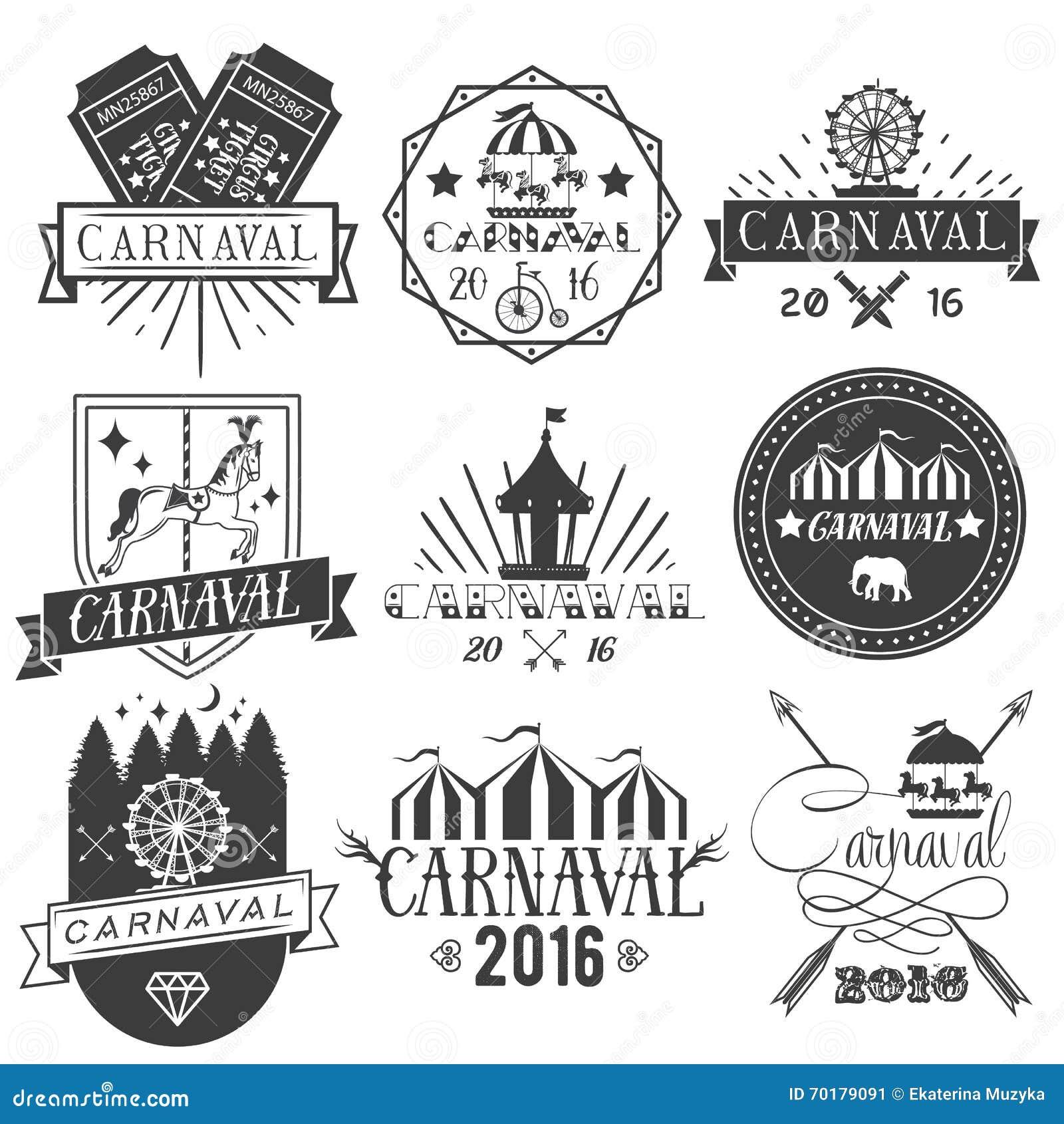 Vektoruppsättningen av cirkus- och karnevaletiketter i tappning utformar Planlägg beståndsdelar, symboler, logoen, emblem, isoler