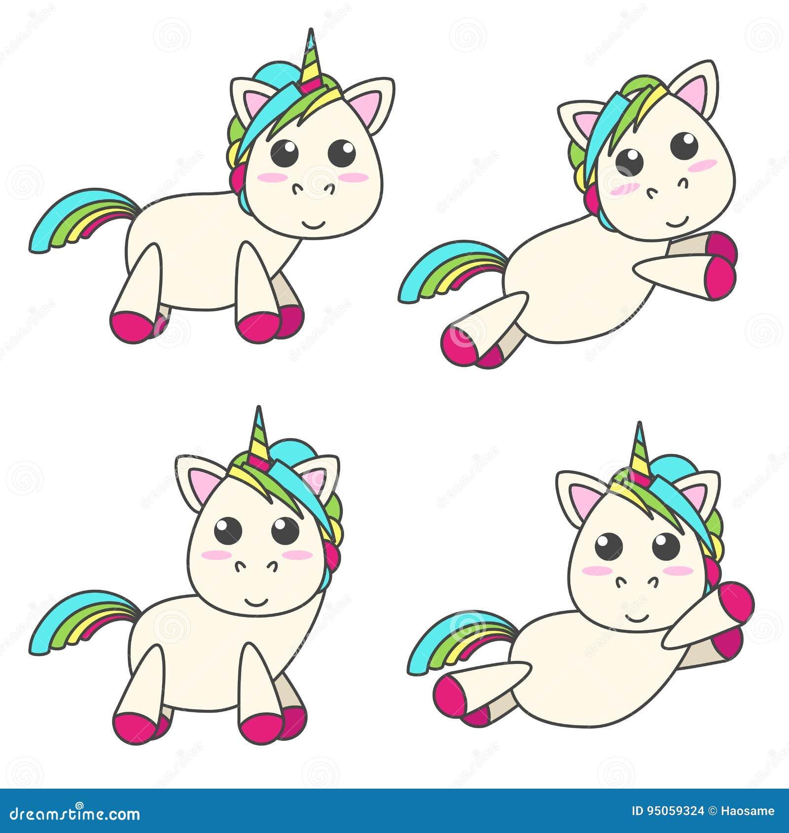 Vektoruppsättningen av enhörningar i olika fyra poserar