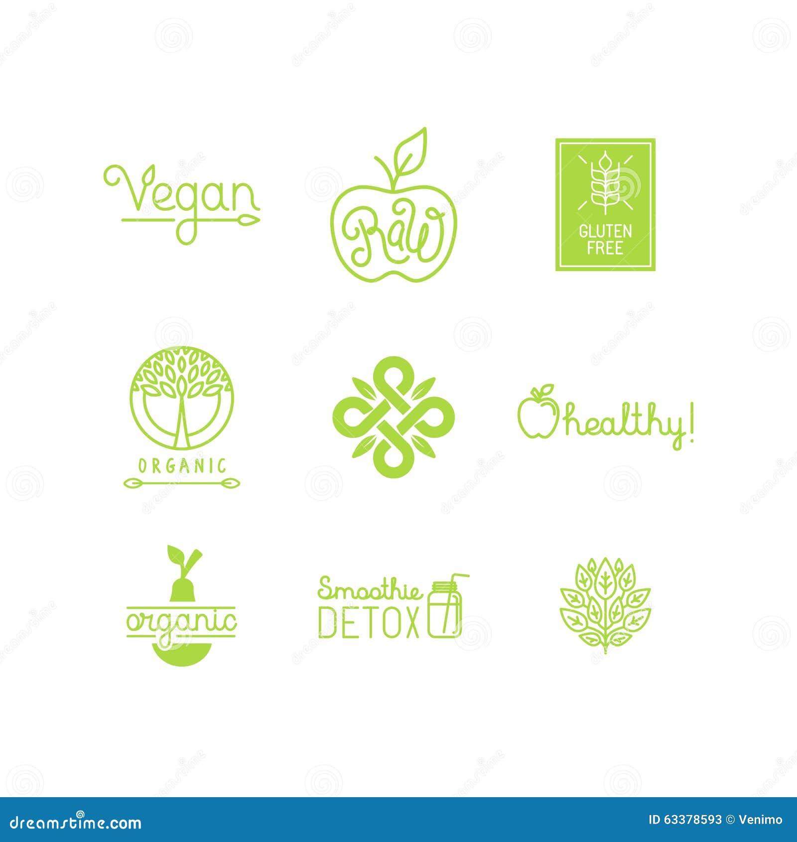 Vektoruppsättningen av gröna och organiska produkter märker och förser med märke