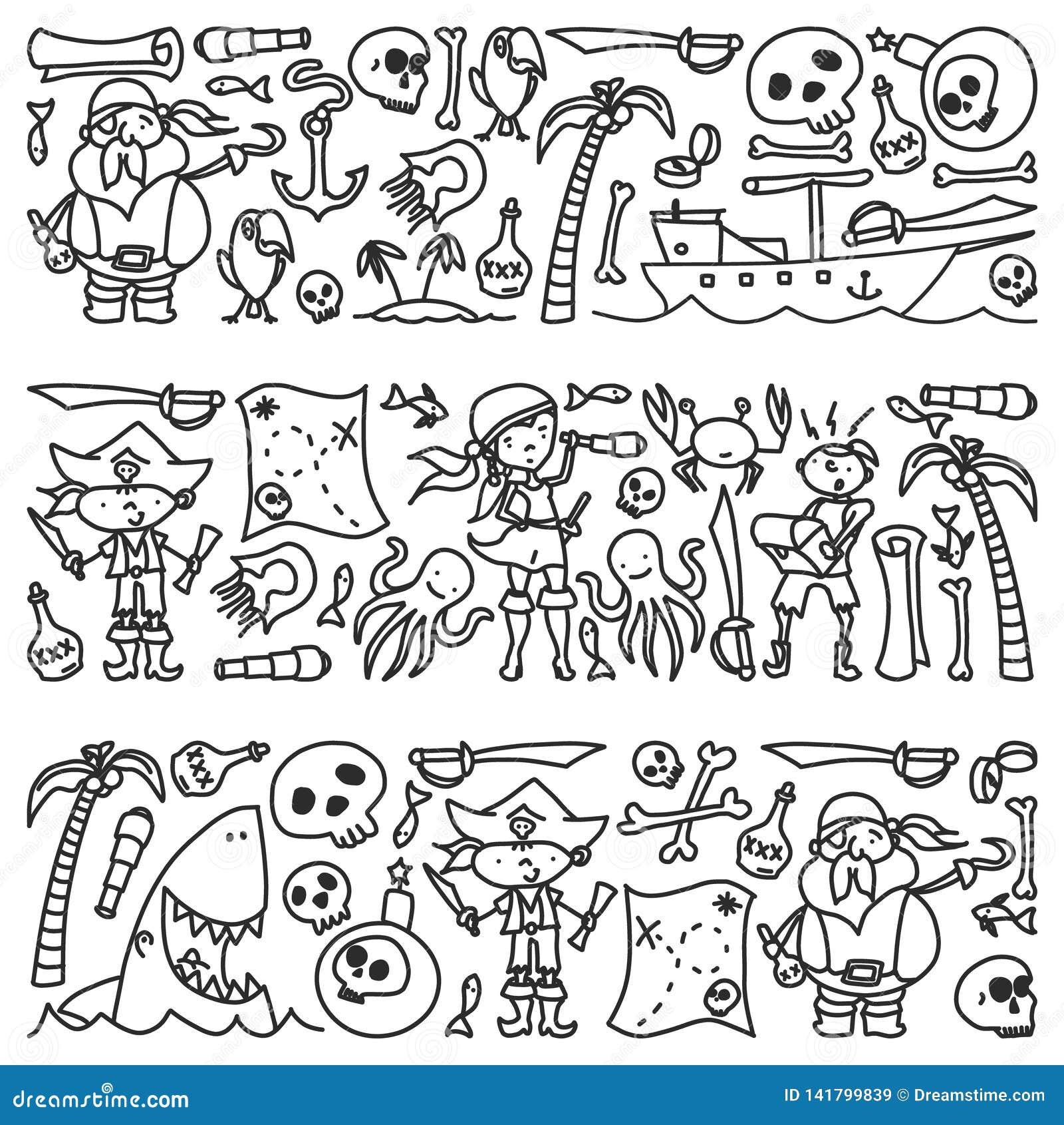 Vektoruppsättningen av piratkopierar barns teckningssymboler i klotterstil Målad svart monokrom, bilder på ett stycke av papper