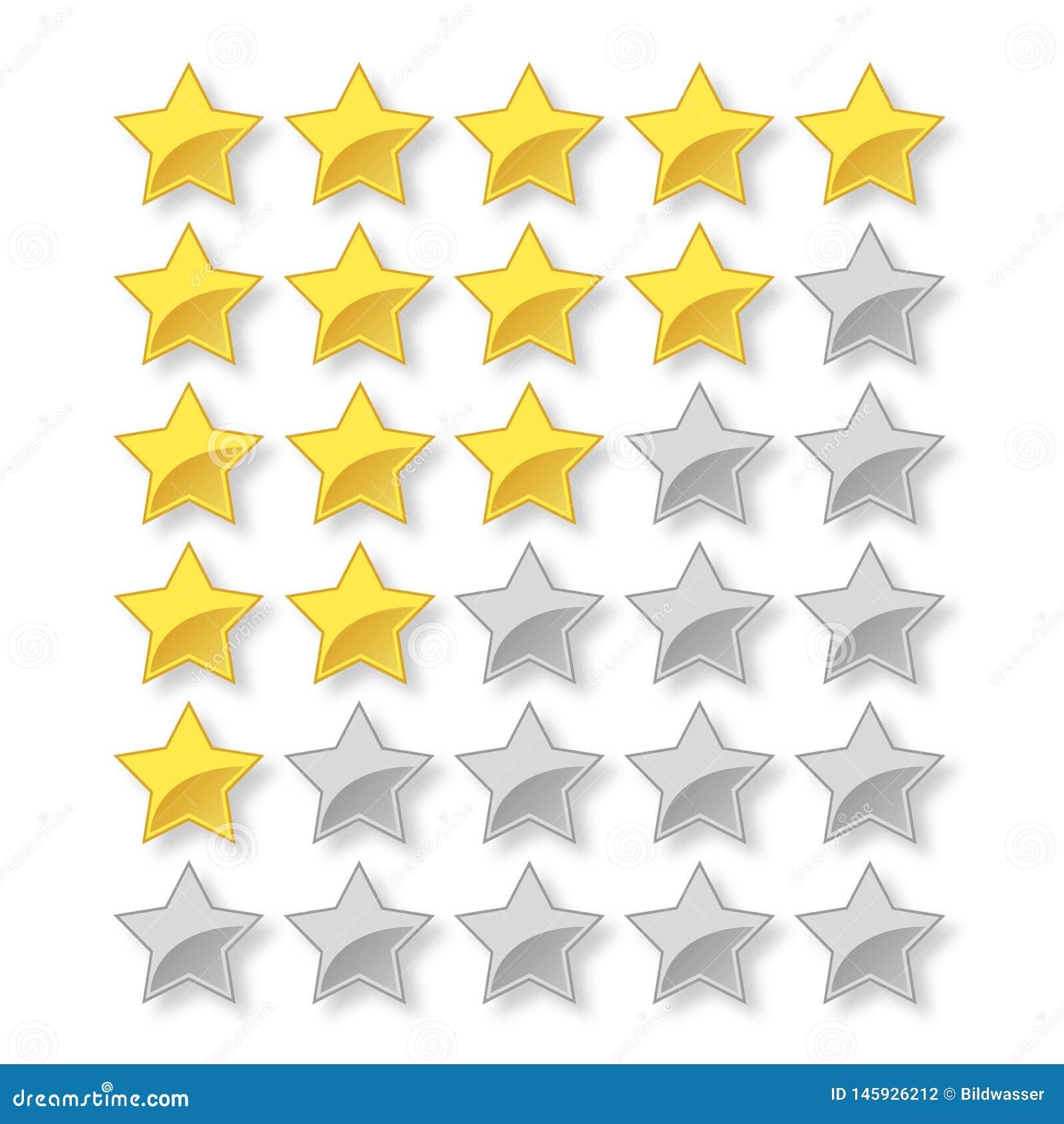 Vektorvärdering för 5 stjärna med fulla och tomma stjärnor