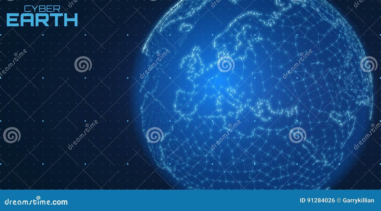 Vektorvärldskarta construted av nummer och linjer Abstrakt jordklotanslutningsillustration Futurisric sfärisk översikt