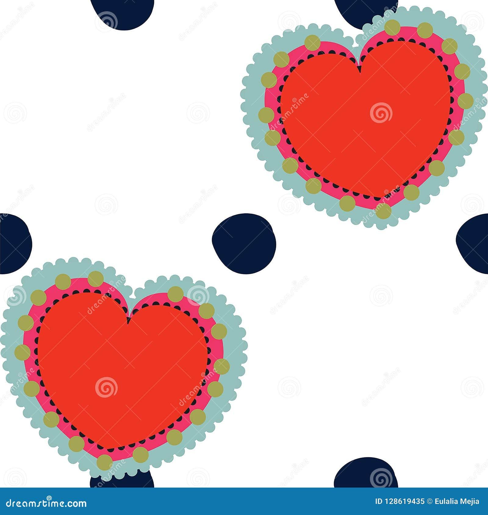 Vektorvalentin och sömlös modellbakgrund för prickar