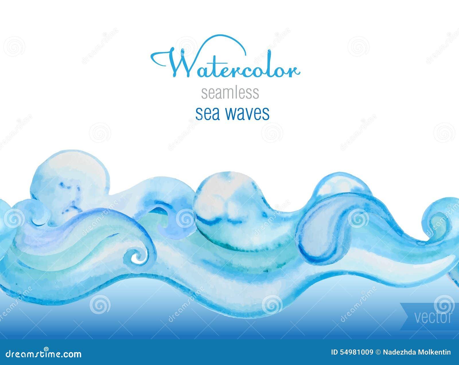 Vektorvattenfärgbakgrund Horisontalsömlöst vektorsmattrande