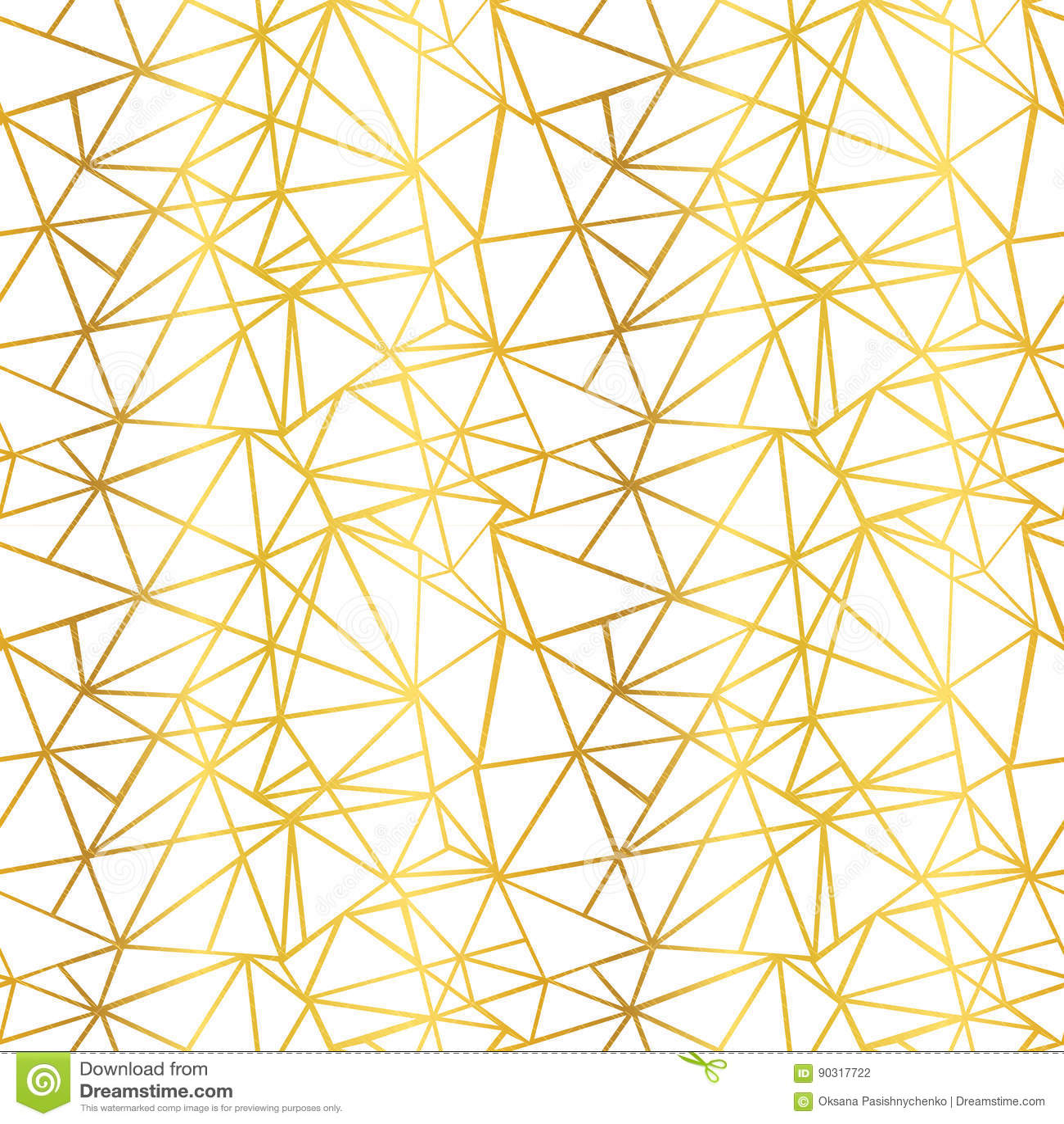 Vektorvit och bakgrund för modell för geometrisk mosaisk repetition för trianglar för tråd för guld- folie sömlös Kan användas fö