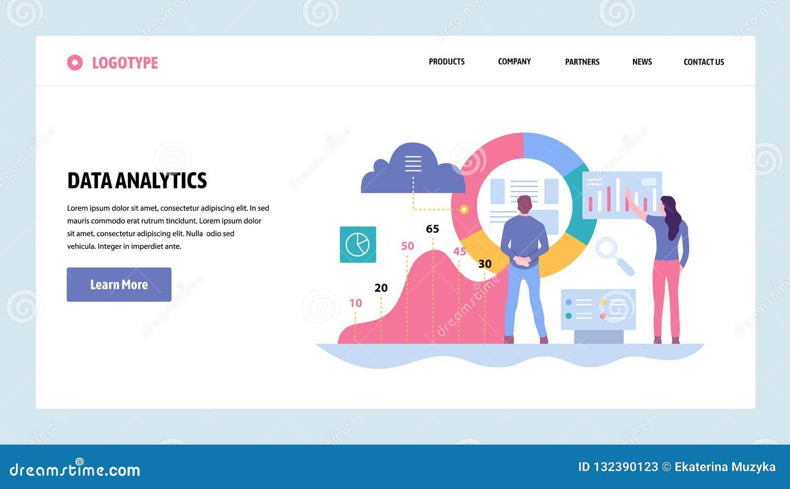 Vektorwebsitesteigungs-Entwurfsschablone Daten Analytics, Armaturenbrett und Geschäftsfinanzbericht Landungsseitenkonzepte