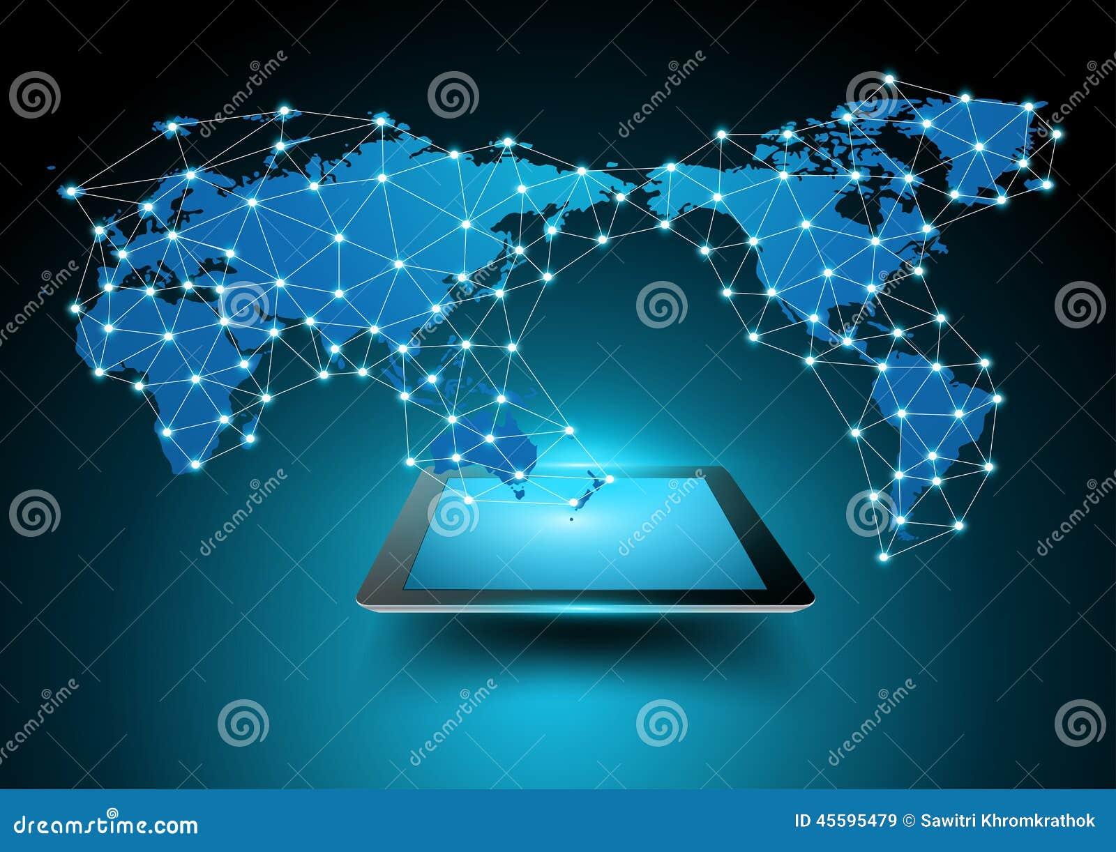 Vektorweltkarteverbindung mit Tablet-Computer