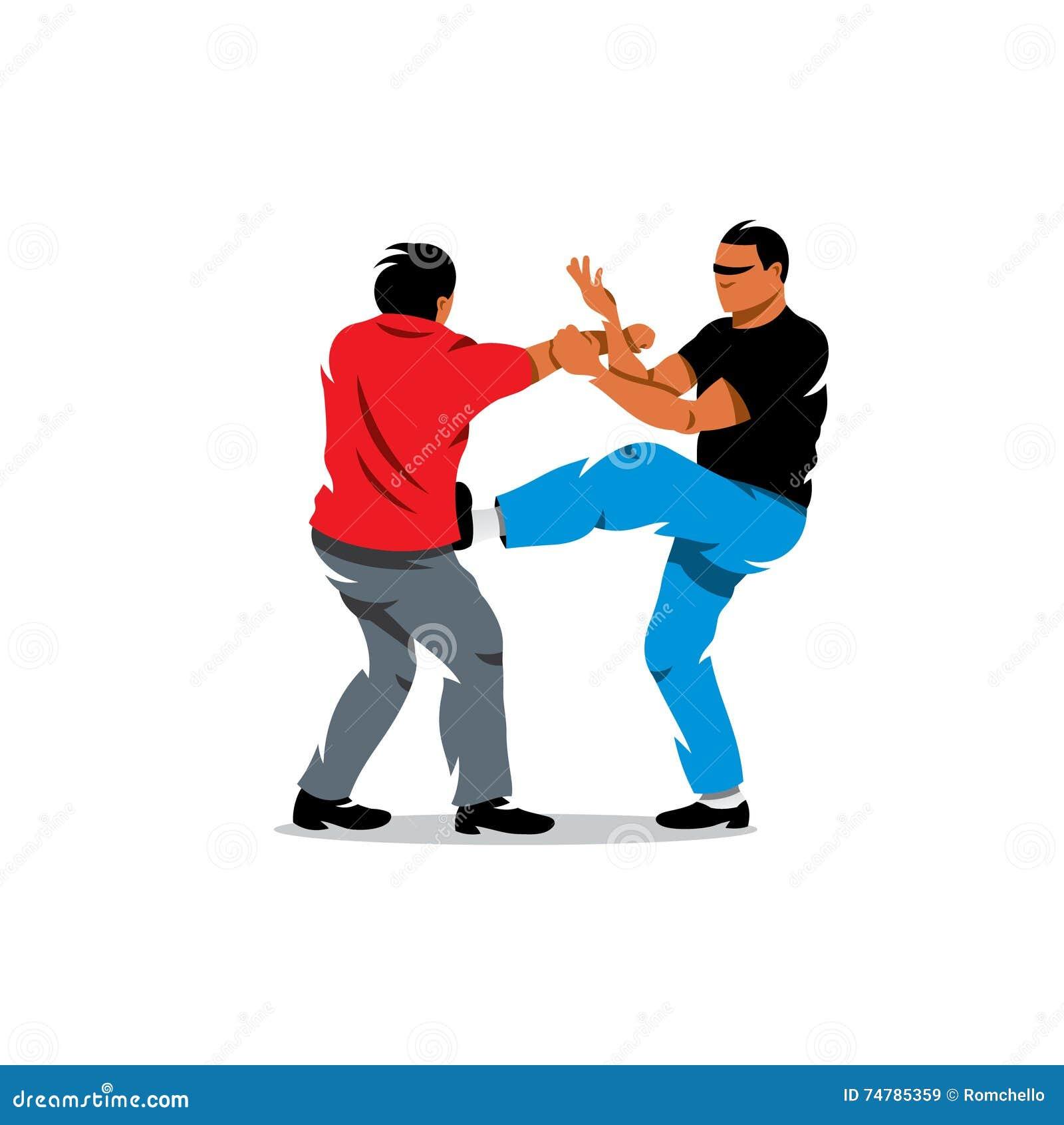 VektorWing Chun kung fu som munhuggas tecknad filmillustrationen