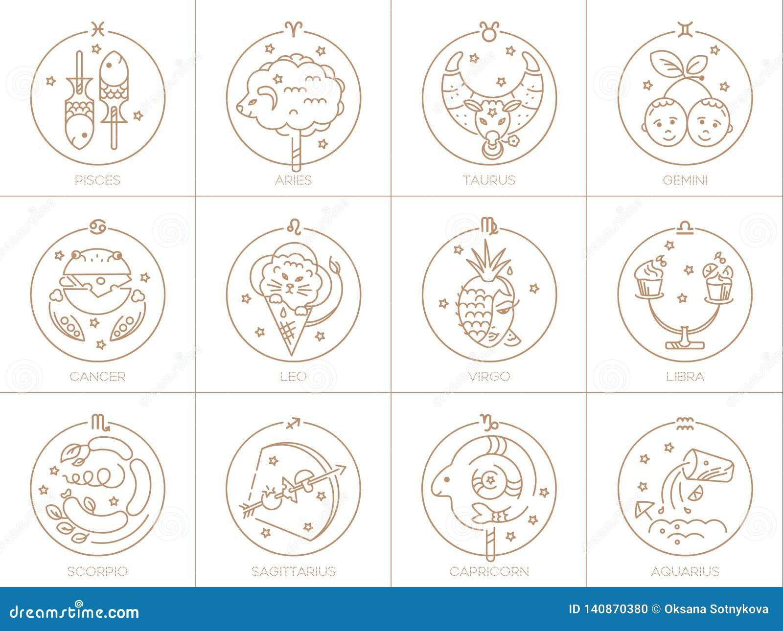 Vektorzeichen des Tierkreises in den Kreisen der goldenen Farbe auf einem weißen Hintergrund, einem Logo, einer Tätowierung oder