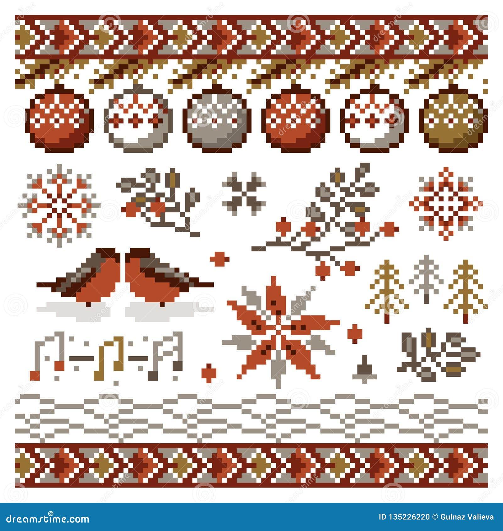 Vektorzusammenfassung Weihnachtspixelverzierung für Stickerei