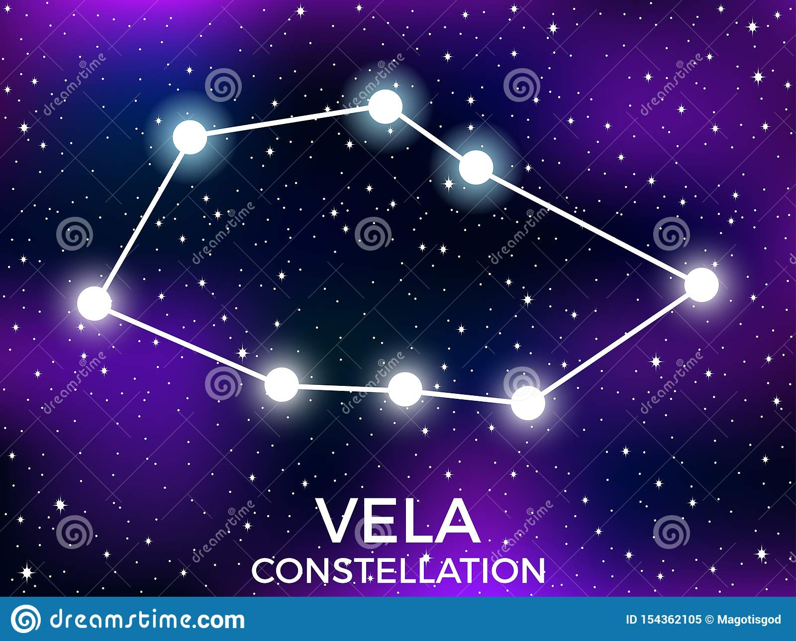 Vela constellation. Starry night sky. Cluster of stars and galaxies. Deep space. Vector