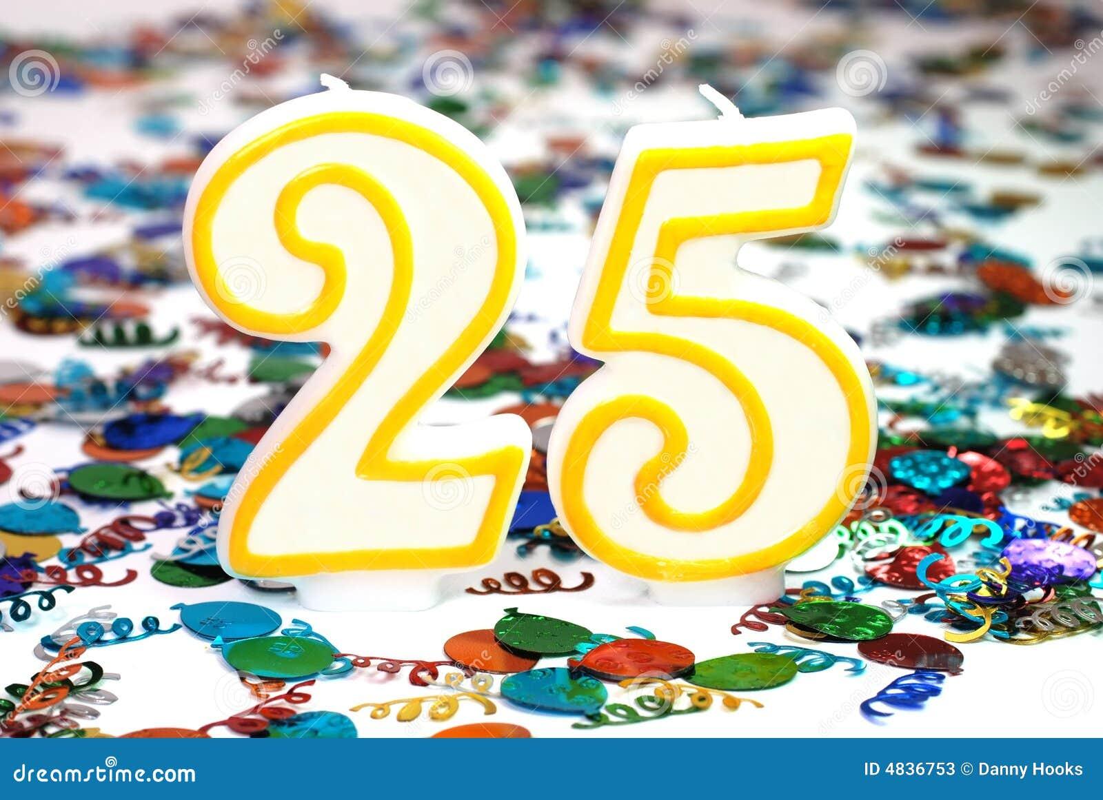 Vela De La Celebracion Numero 25 Imagen De Archivo Imagen De