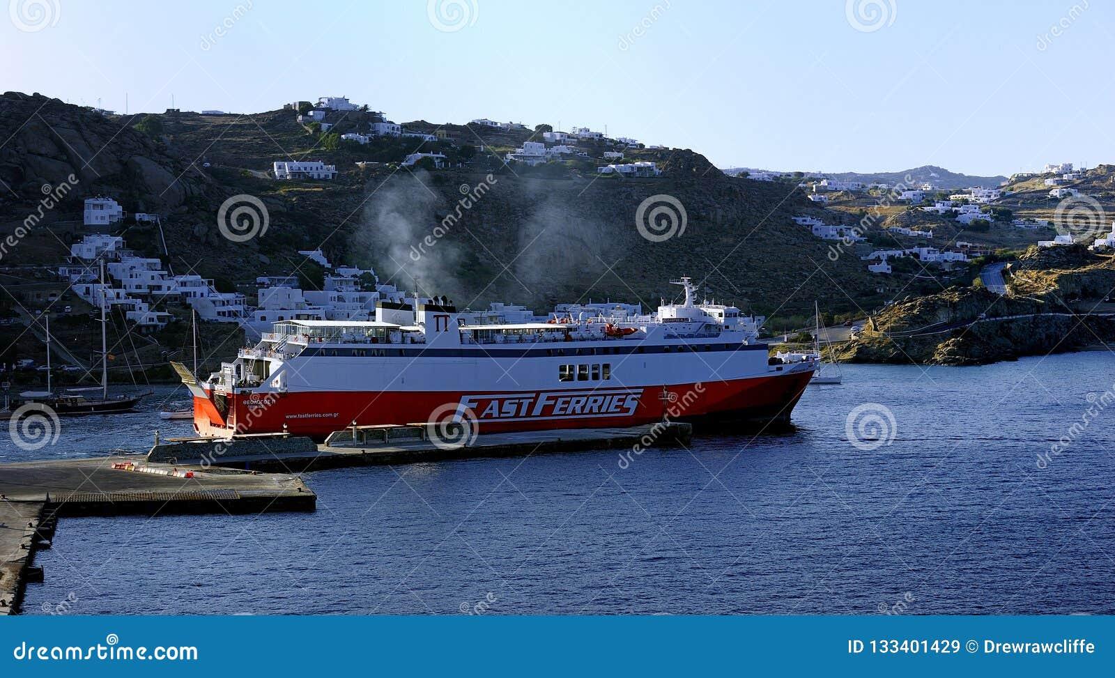 Vela della regolazione di Andros dei traghetti veloci