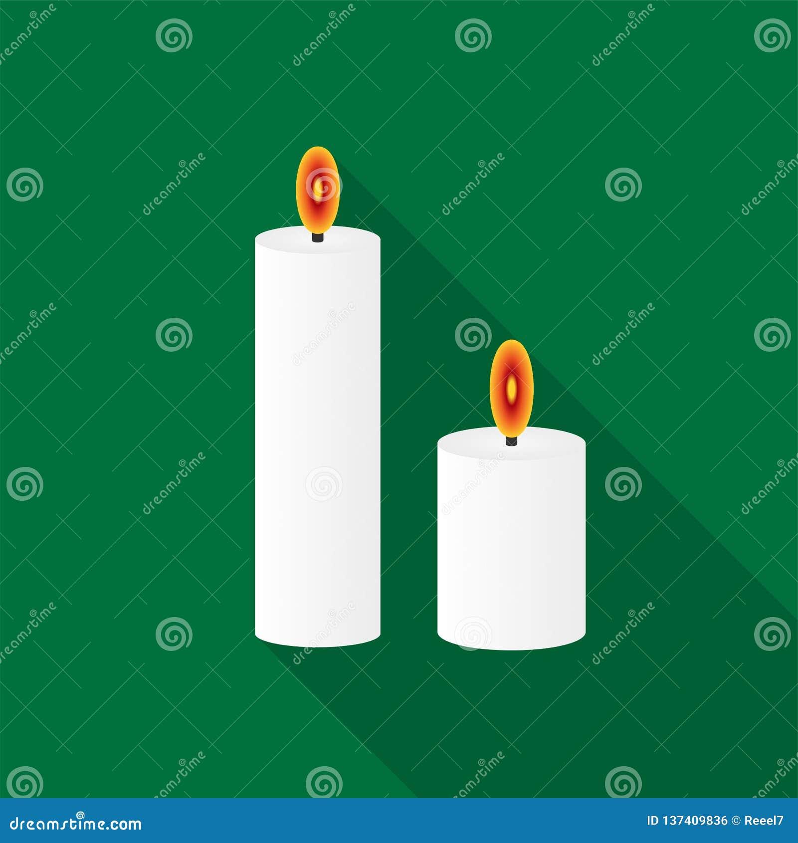 Velas ardientes blancas de iconos con la sombra larga en fondo verde