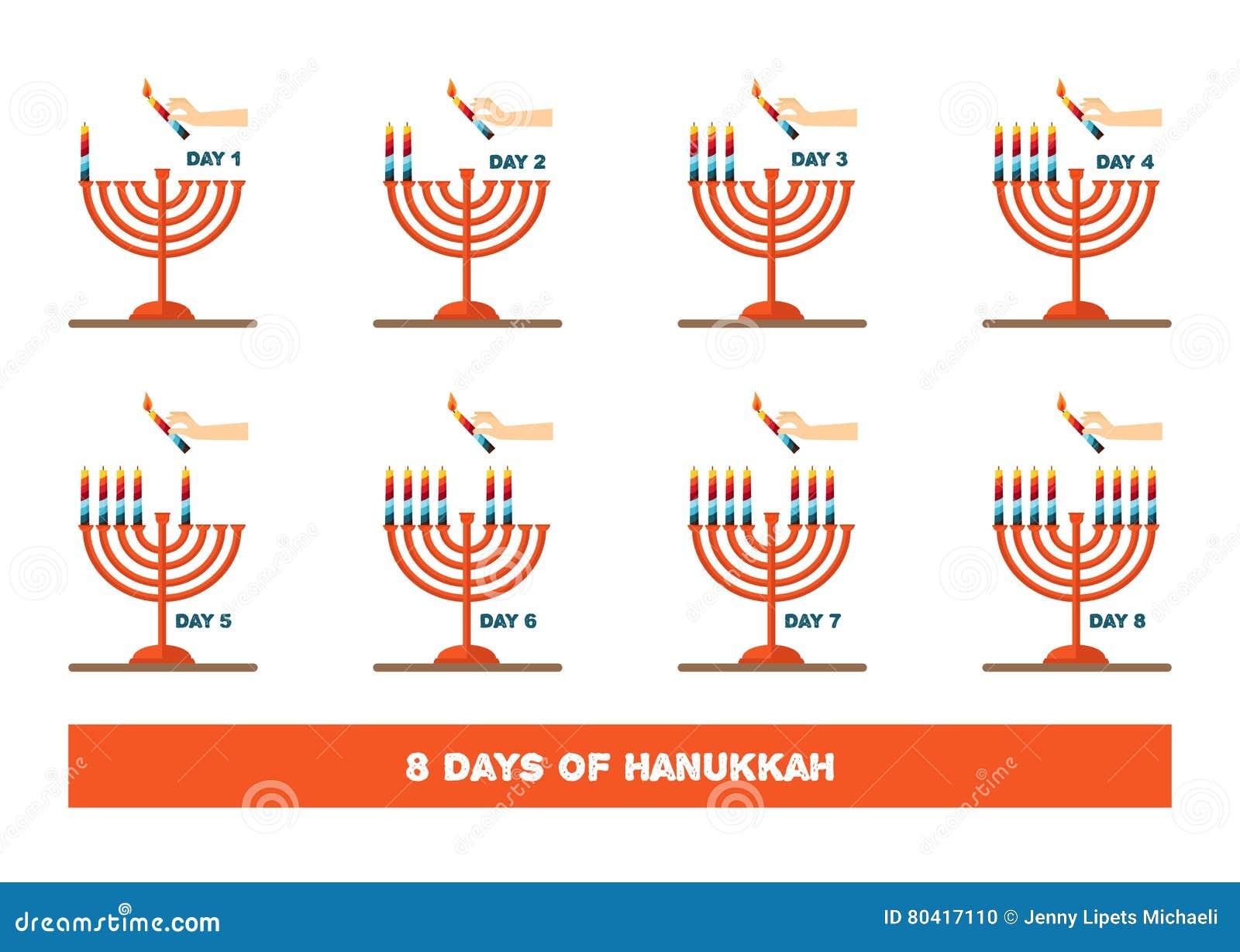 Velas del relámpago para el día de fiesta judío, Jánuca Ilustración