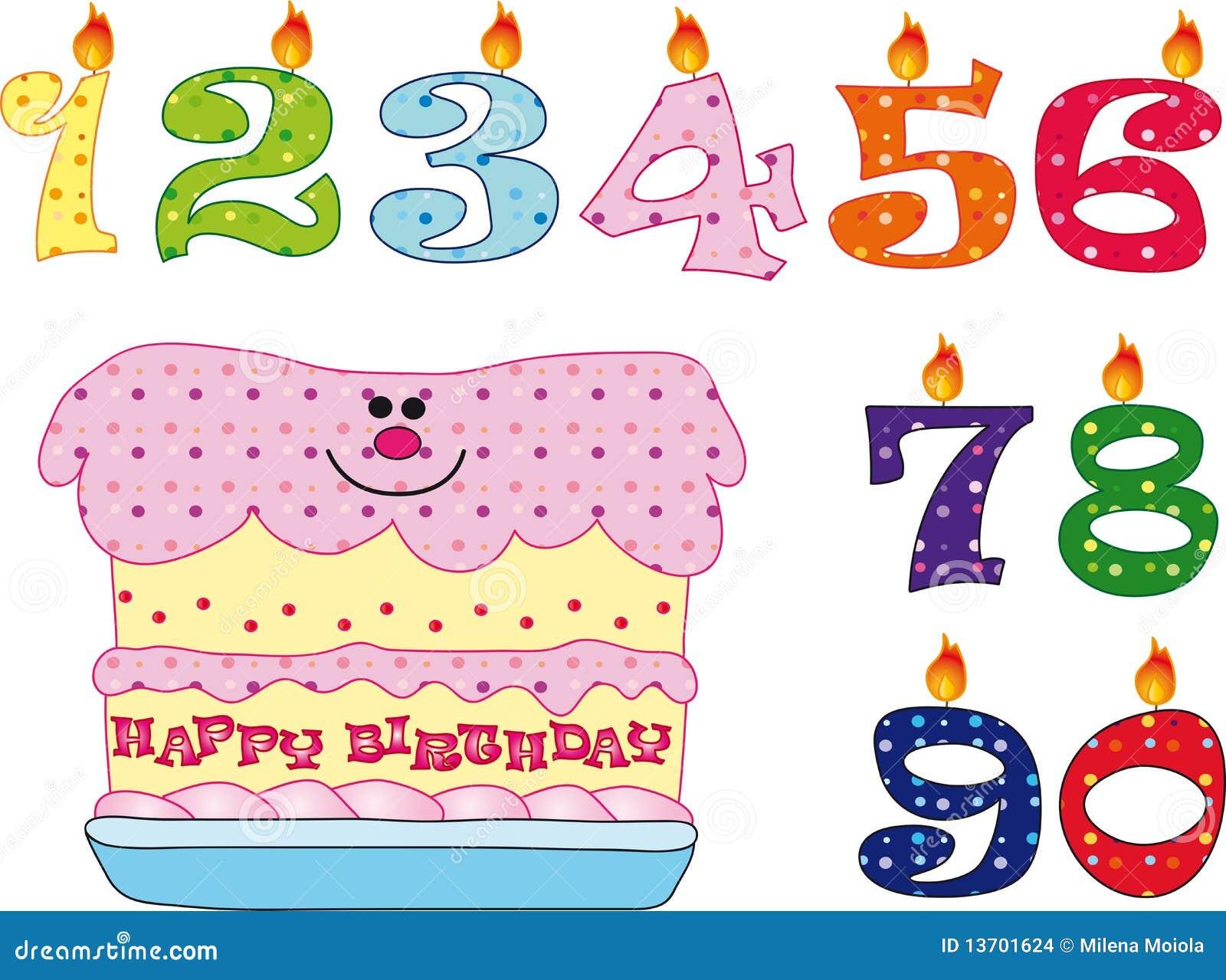 Velas e bolo para o aniversário