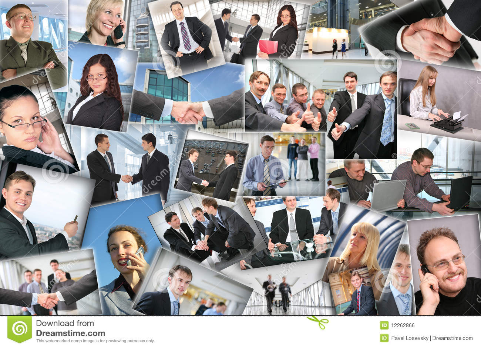Vele bedrijfsbeelden, collage