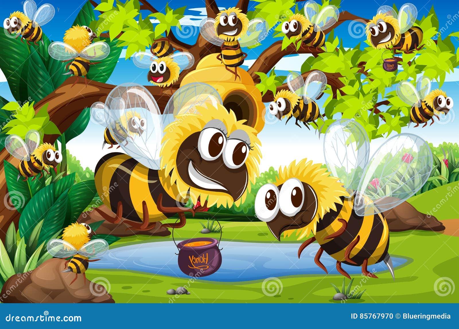 Vele bijen die rond bijenkorf in tuin vliegen vector for Vliegen in de tuin