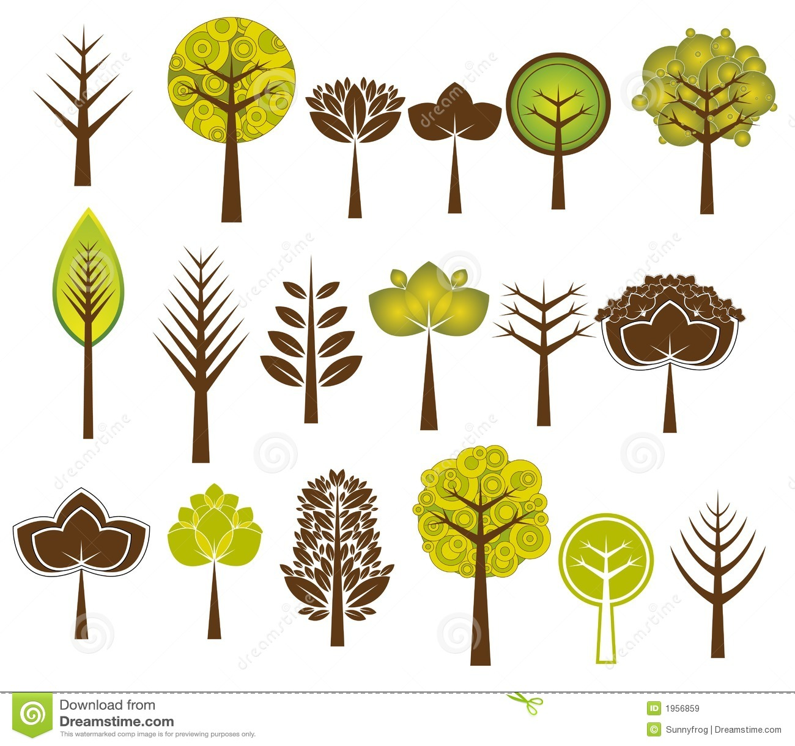 Vele bomen, vector