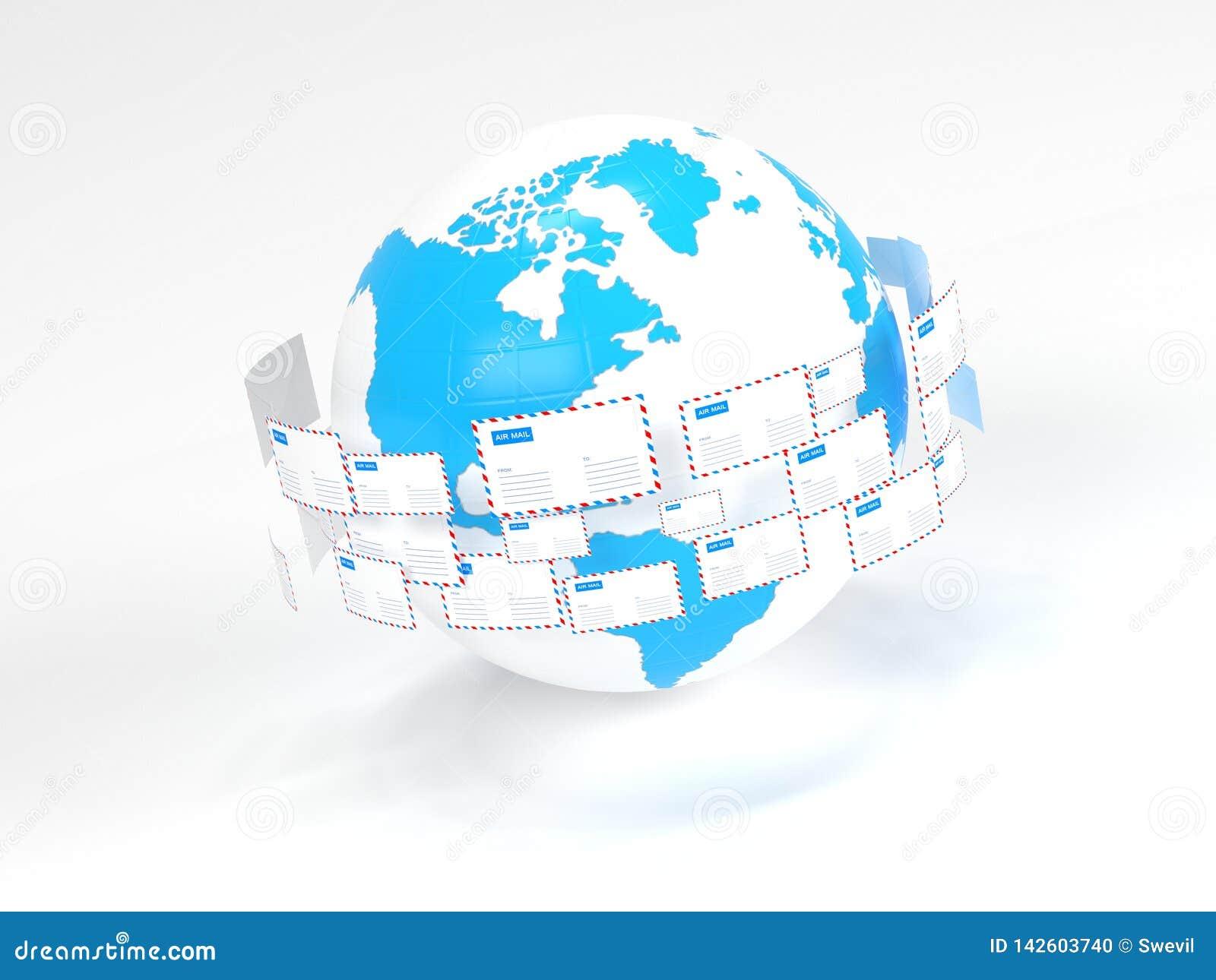 Vele brievenvlieg in een cirkel Internet-post Levering van correspondentie wereldwijd