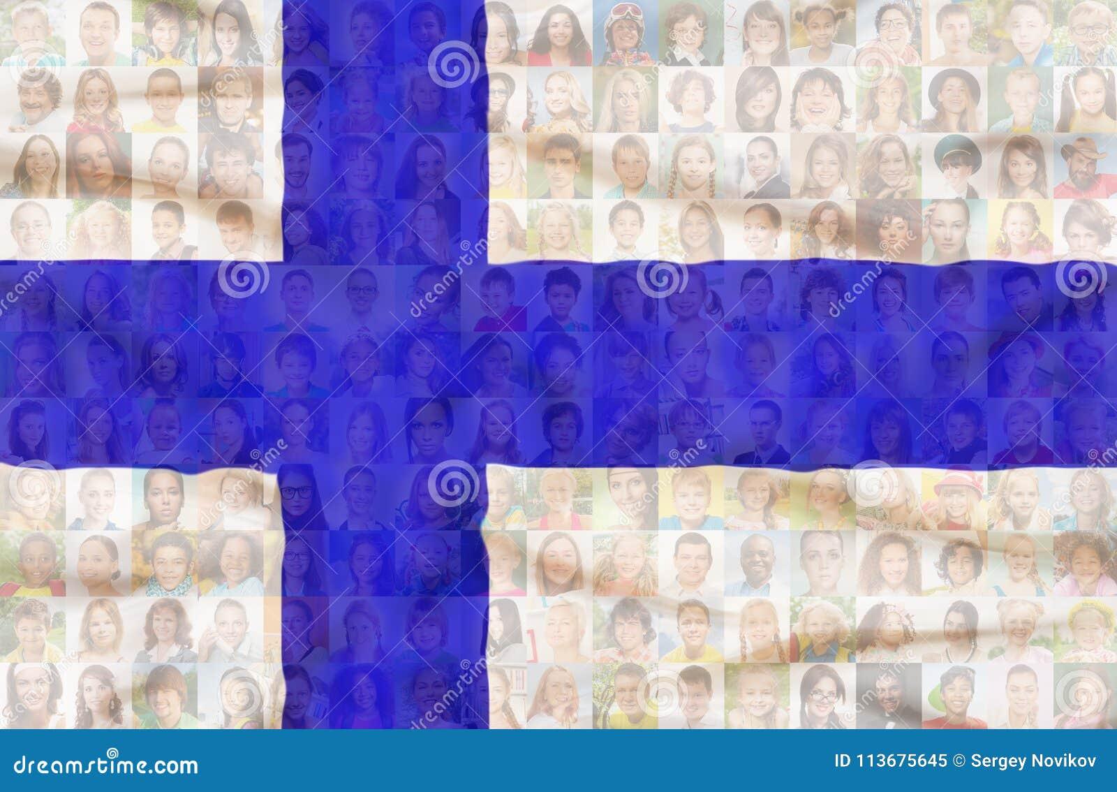 Vele diverse gezichten op de nationale vlag van Finland