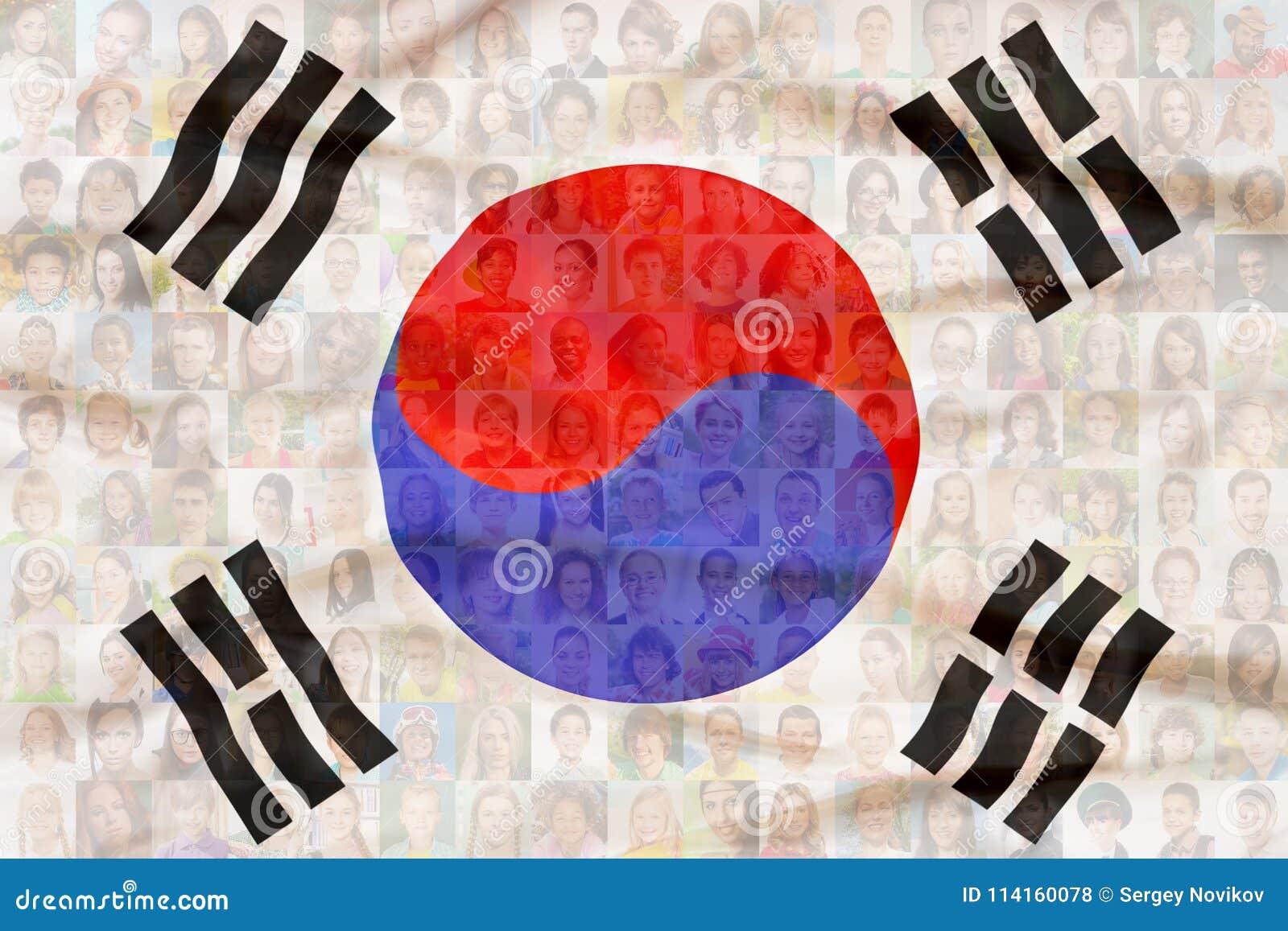 Vele diverse gezichten op de nationale vlag van Zuid-Korea