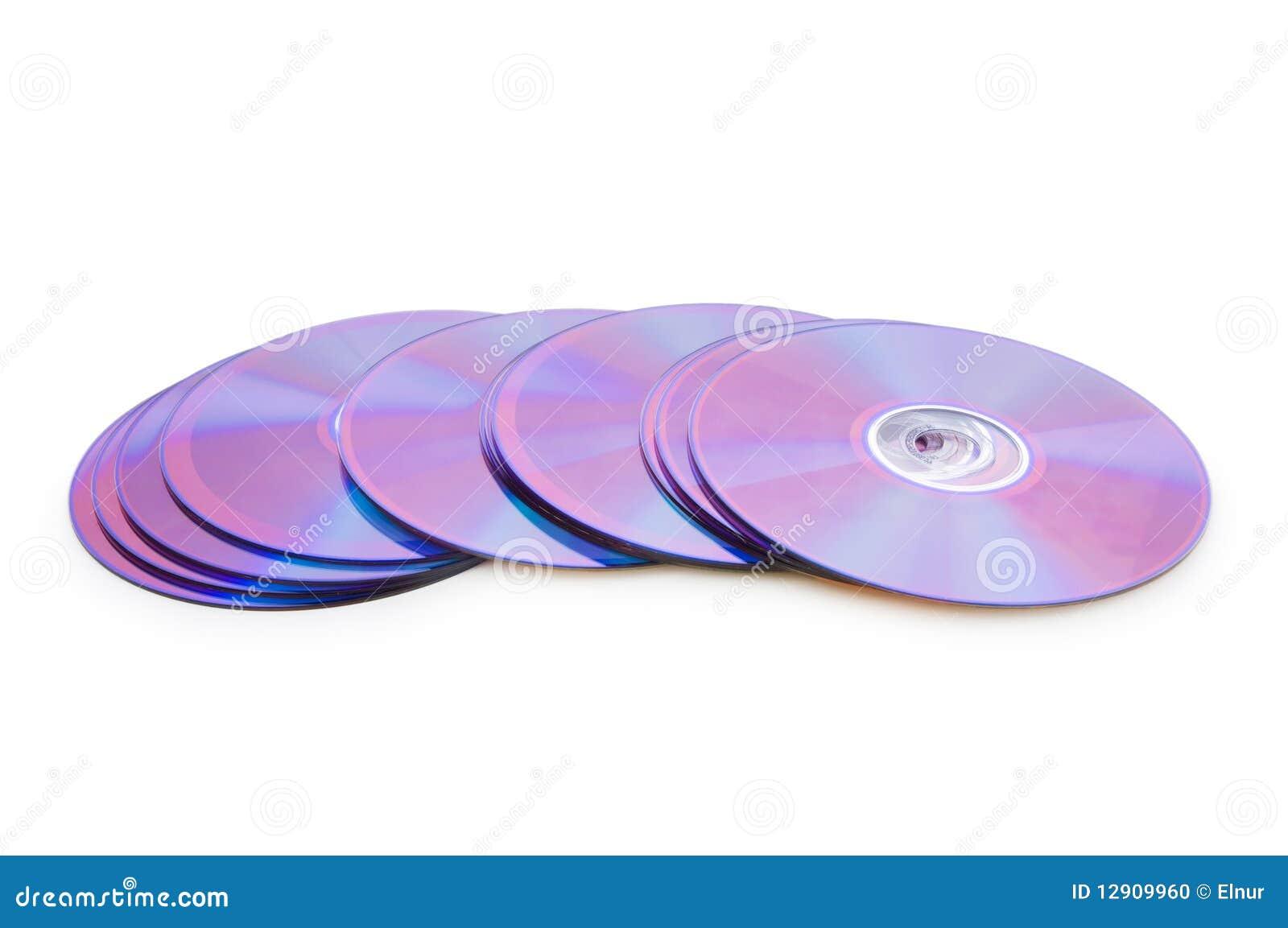 Vele DVD die op het wit wordt geïsoleerdn