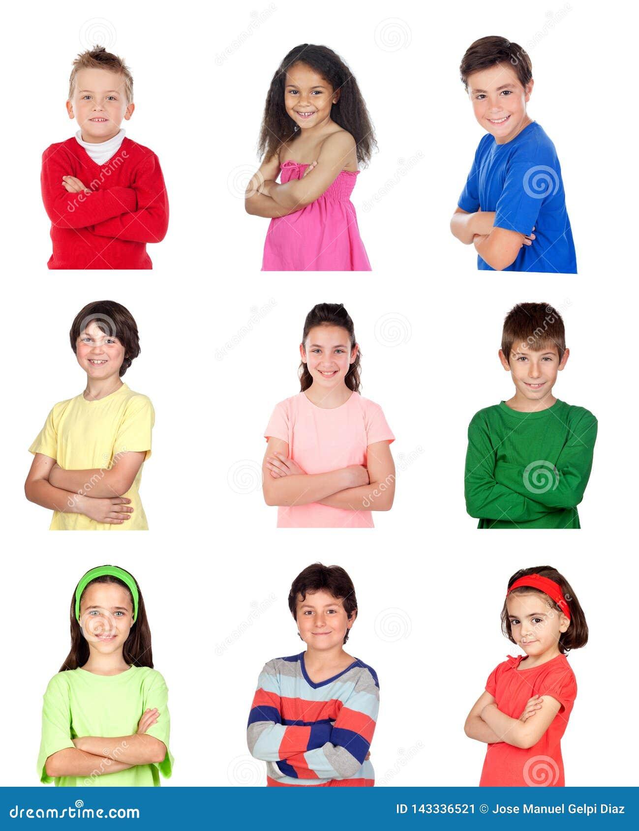 Vele portretten van verschillende kinderen