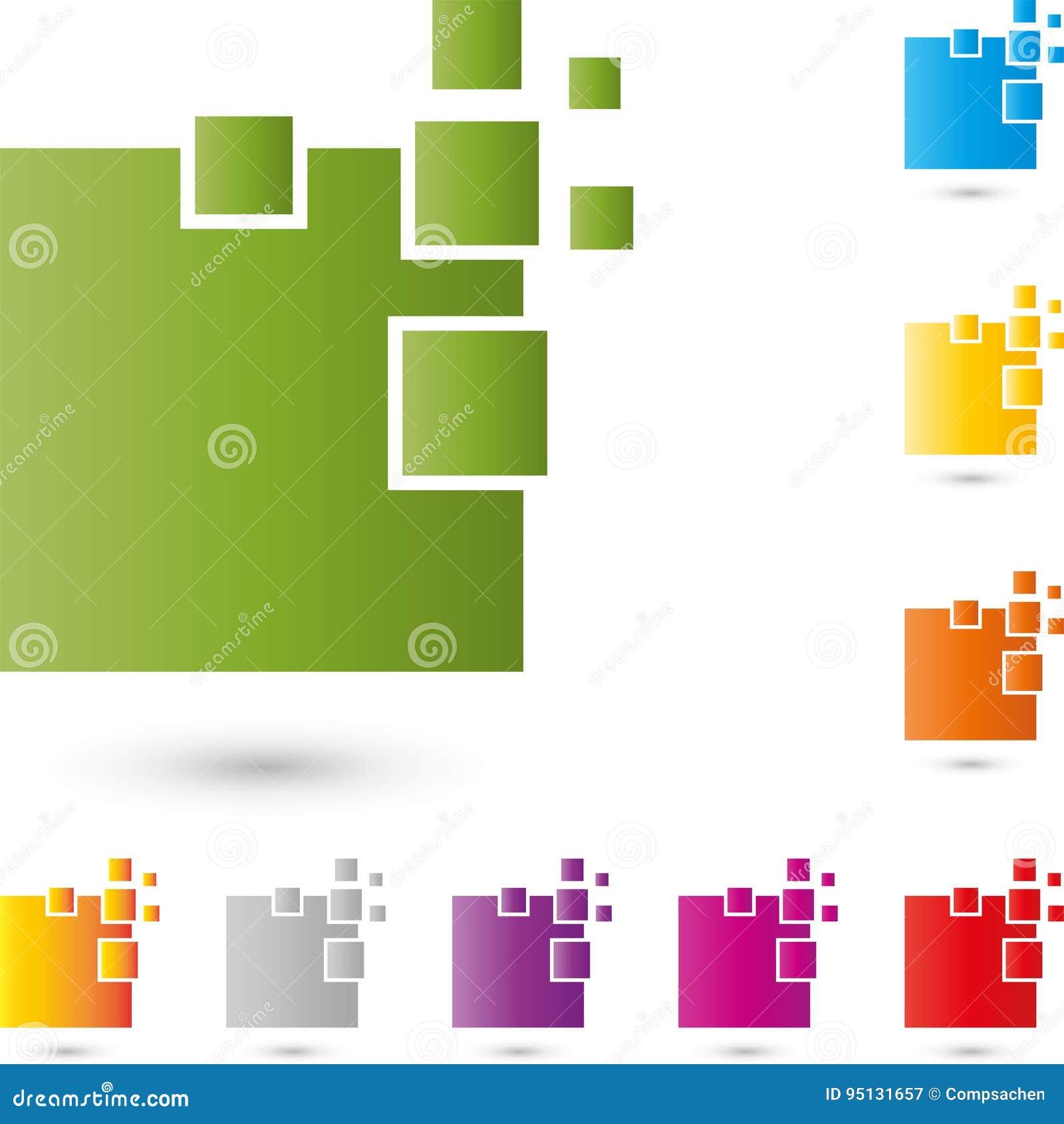 Vele rechthoeken, pixel, gegevens en IT de dienstenembleem