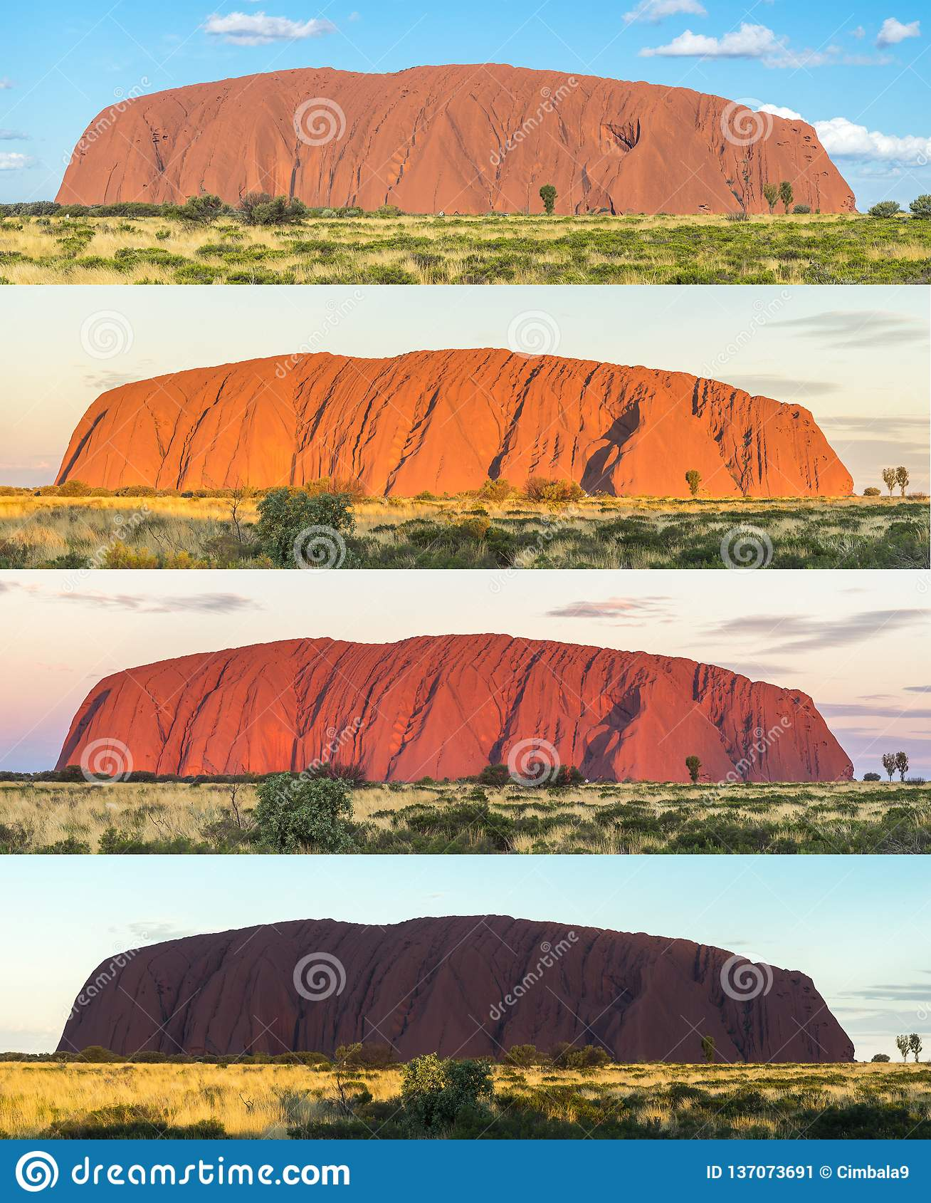Vele schaduwen van Ayers schommelen, Uluru, Centraal Australië