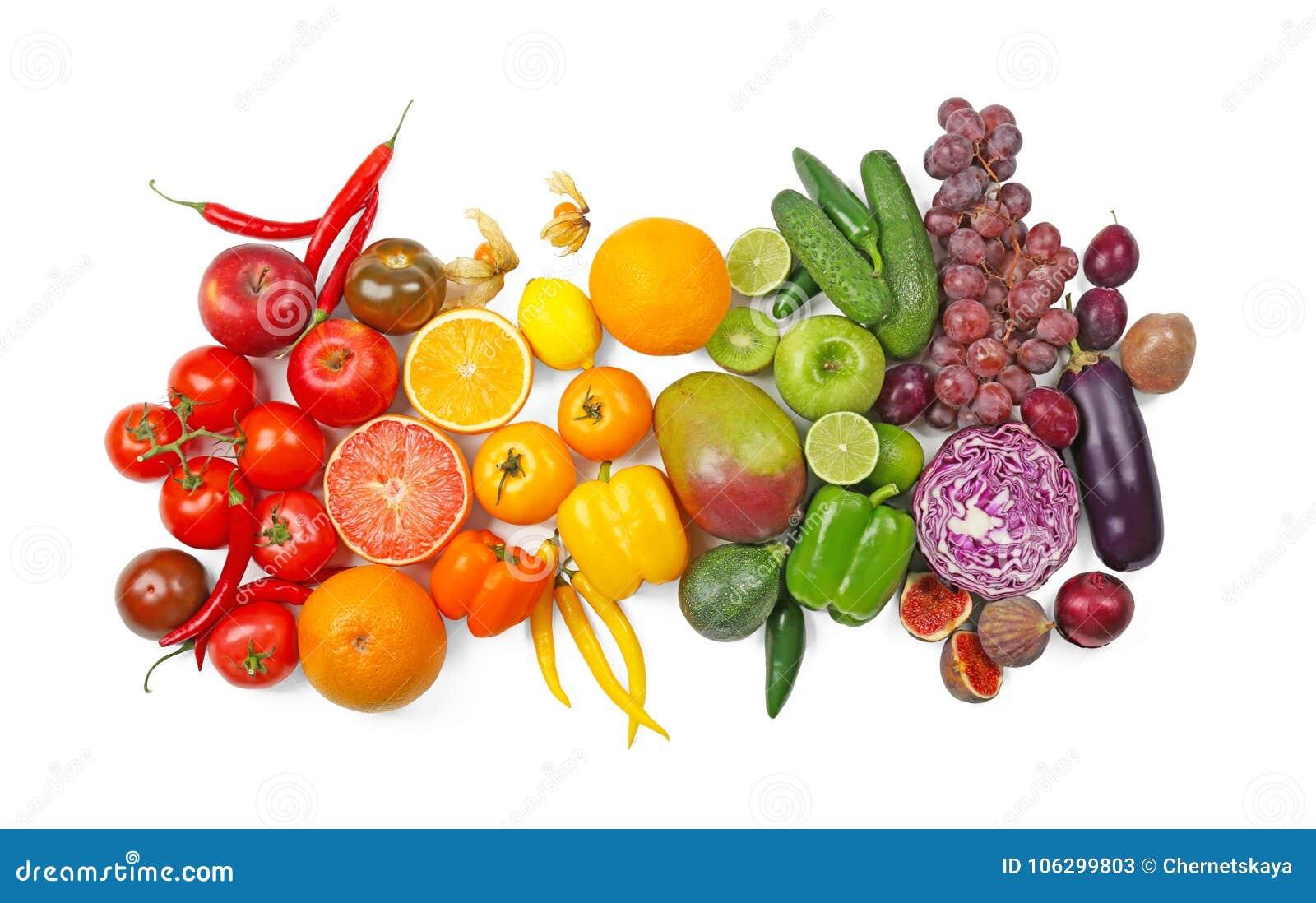 Vele verschillende vruchten en groenten