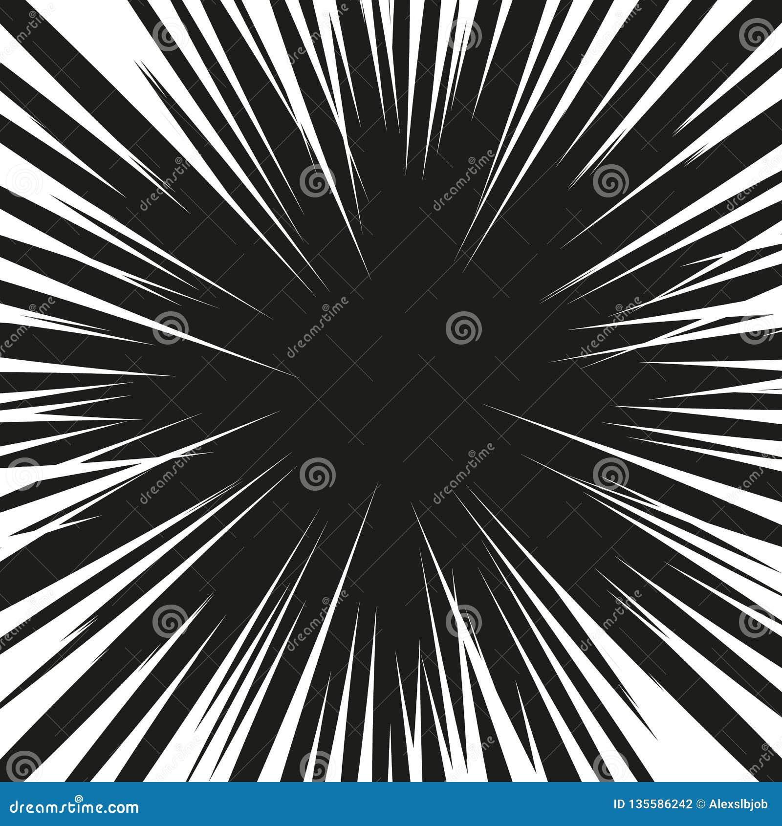 Vele zwarte grappige radiale snelheidslijnen op witte basis Effect de illustratie van de machtsexplosie Het grappige element van