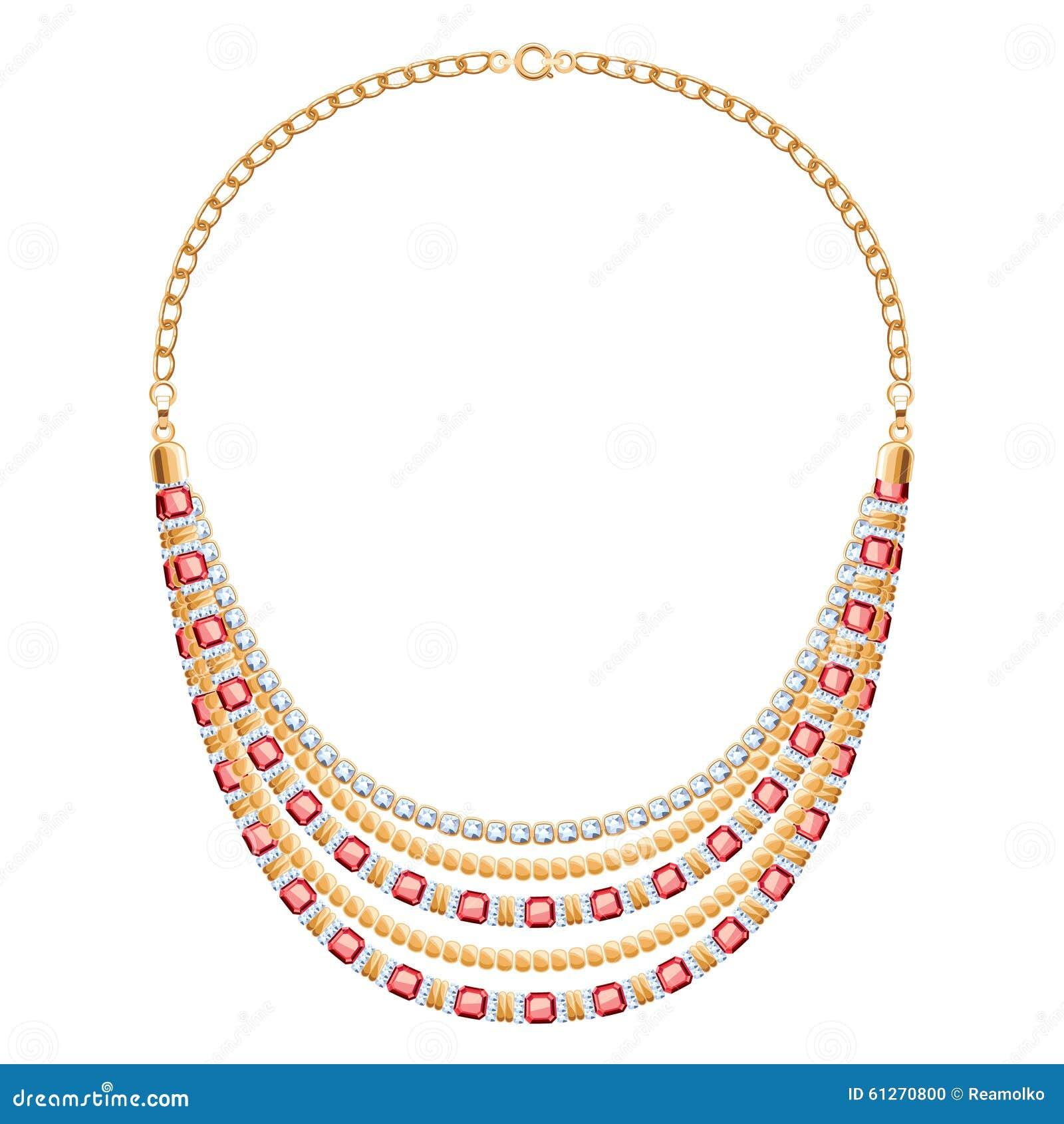 Velen ketenen gouden metaalhalsband met diamanten