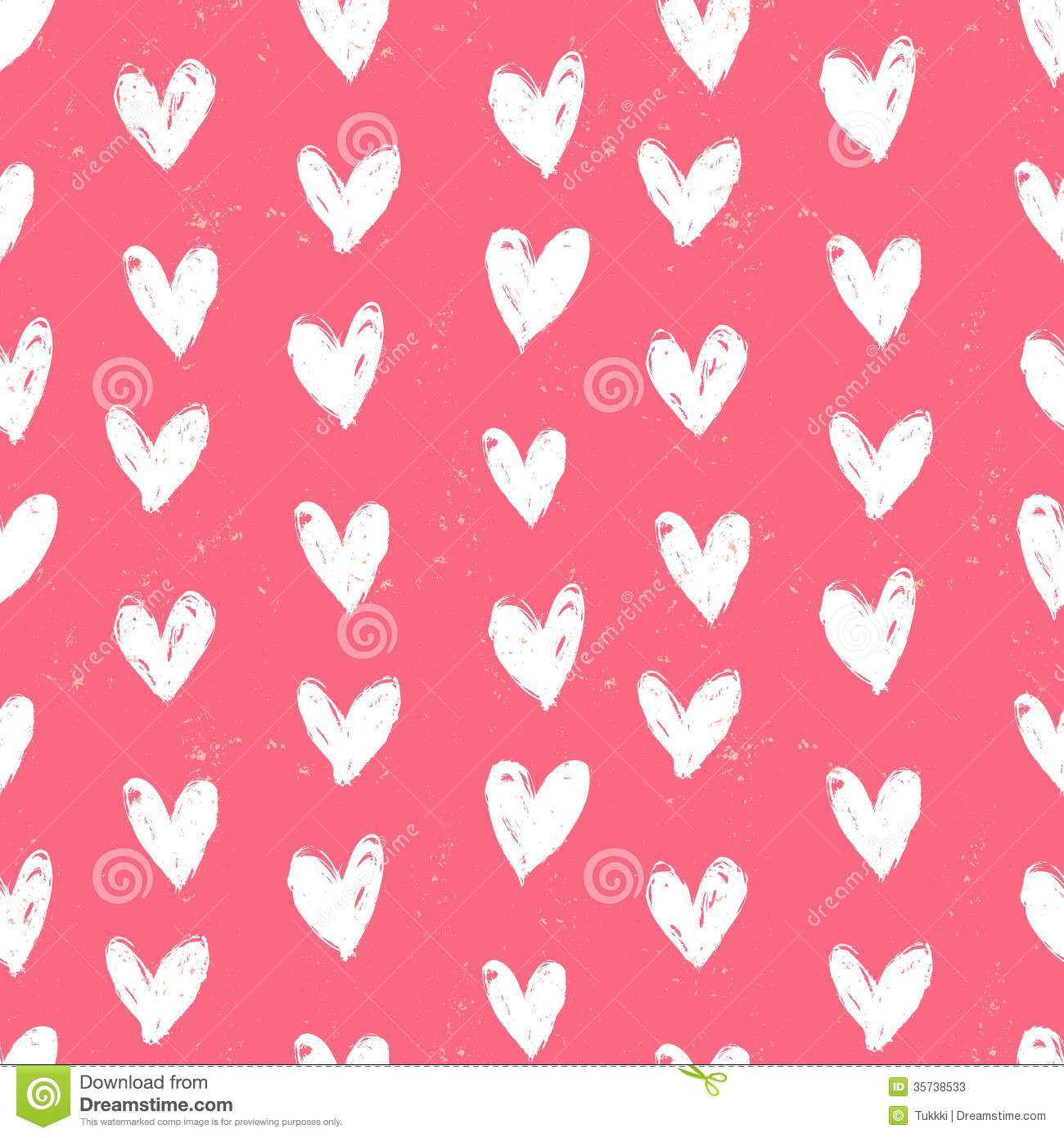 Velentine's Day Pattern With Hand Painted Hearts. Stock ...