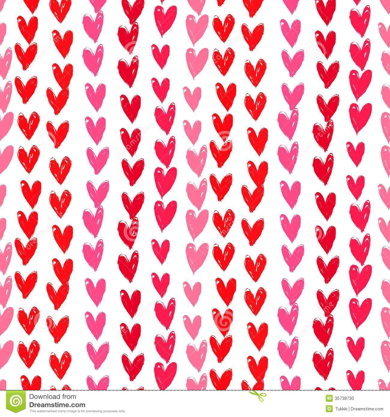 velentine's day pattern with hand painted hearts. stock vector