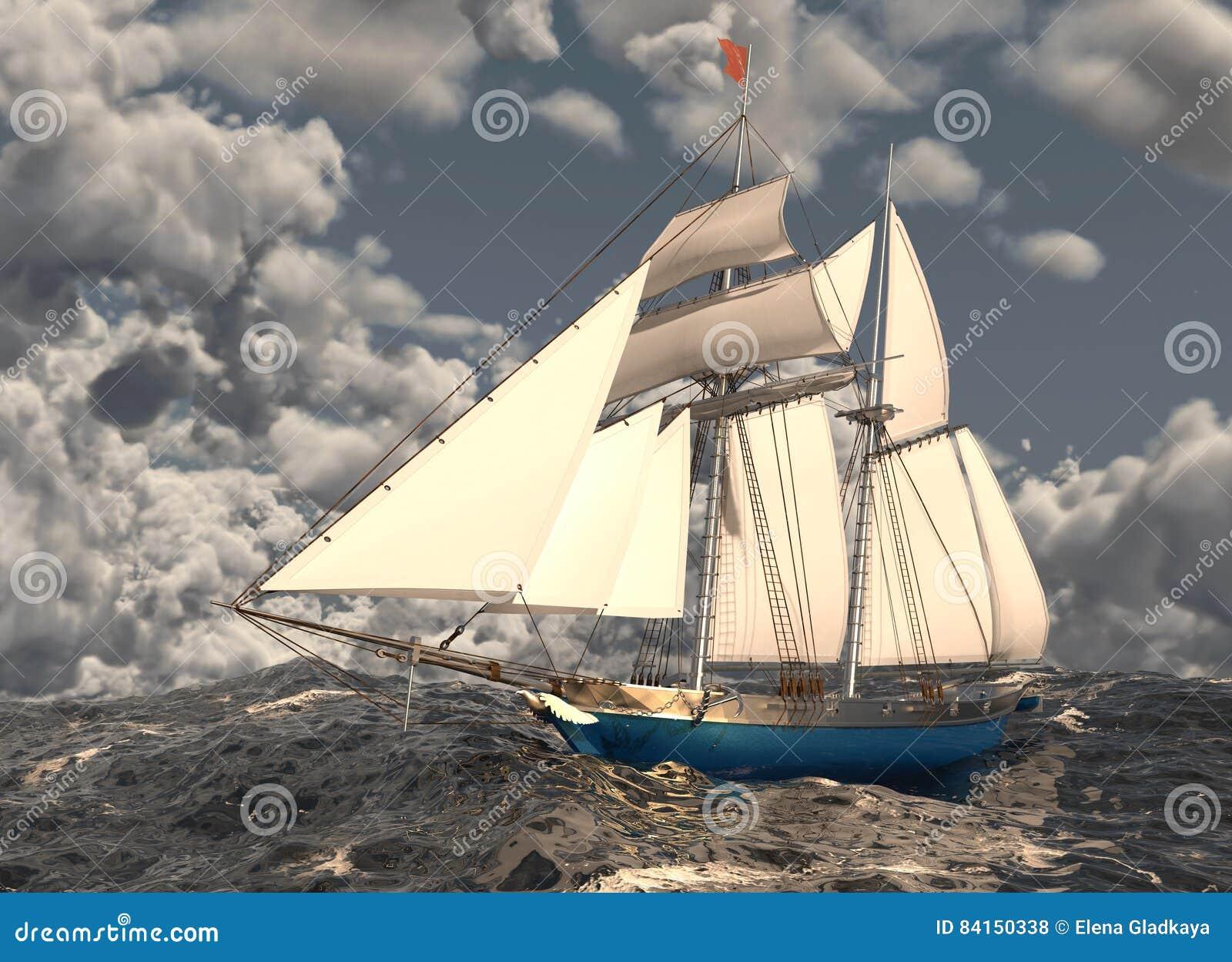 Velero En El Ejemplo Del Mar 3D Stock de ilustración - Ilustración ...