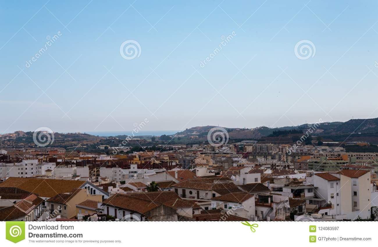 VELEZ-MALAGA, SPAIN - AUGUST 17, 2018 view of buildings in small