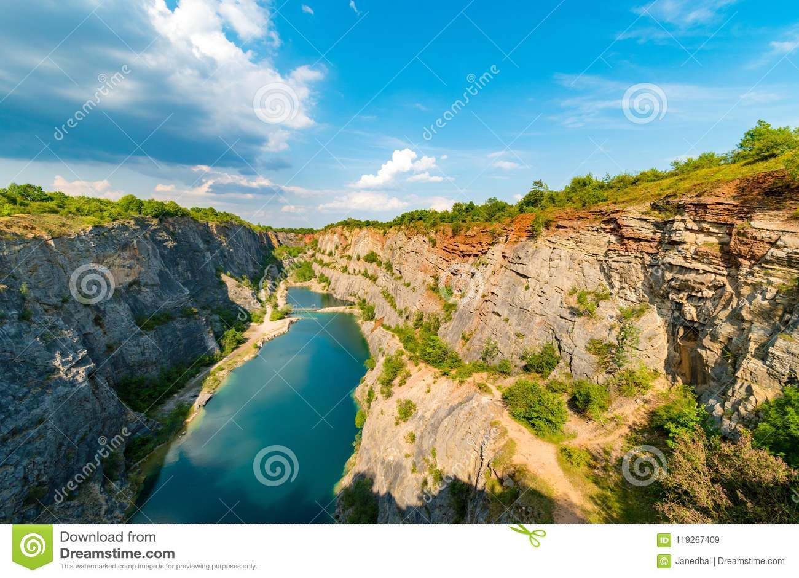 Velka America canyon, abandoned limestone quarry, Centran Bohemian Region, Czech republic