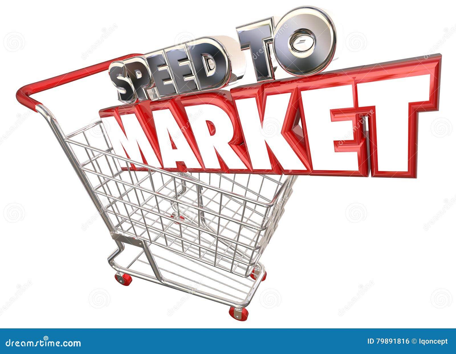 Velocidad para comercializar el desarrollo de productos del carro de la compra