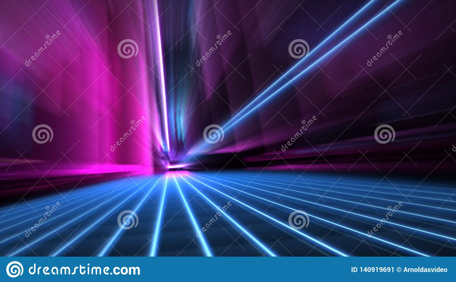 A velocidade do sumário borrou a rua de néon azul e cor-de-rosa de 80s do estilo da cidade no papel de parede da noite 4k