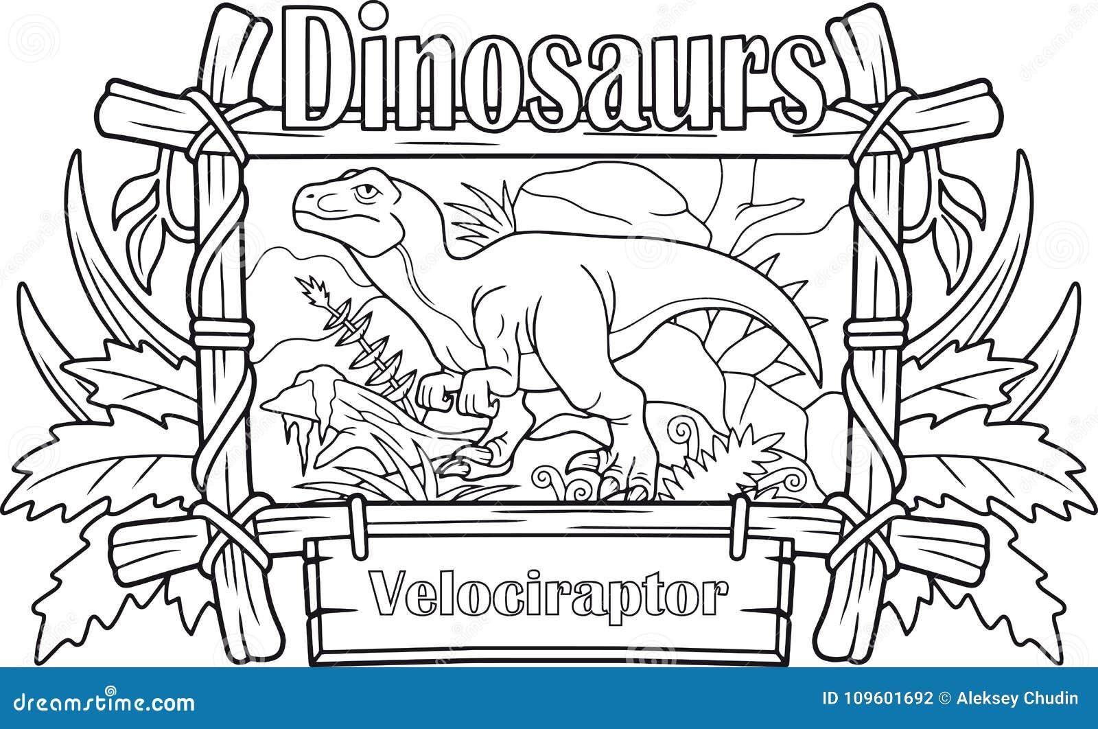 Velociraptor Libro Da Colorare Illustrazione Vettoriale
