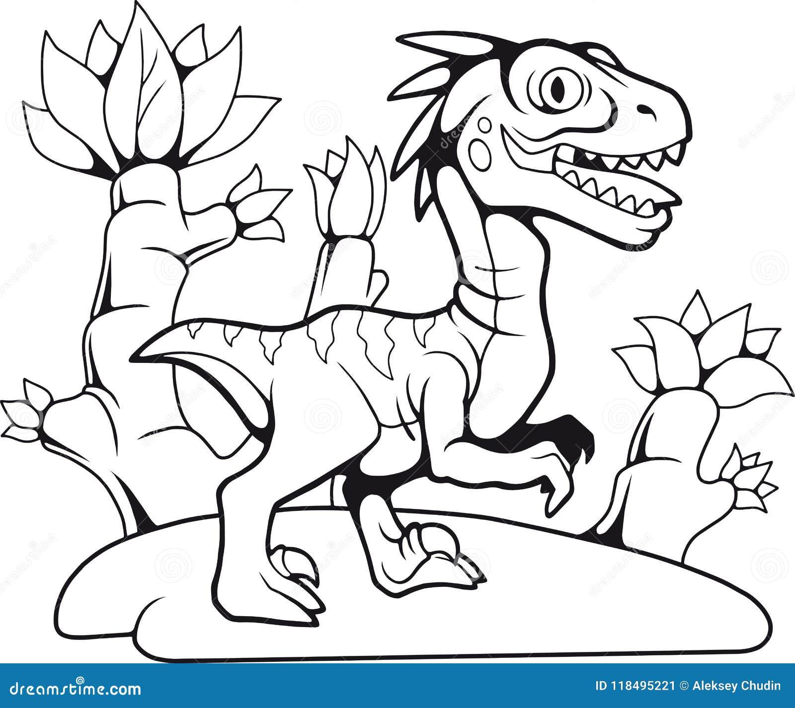 Velociraptor Preistorico Divertente Disegno Di Contorno Libro Da