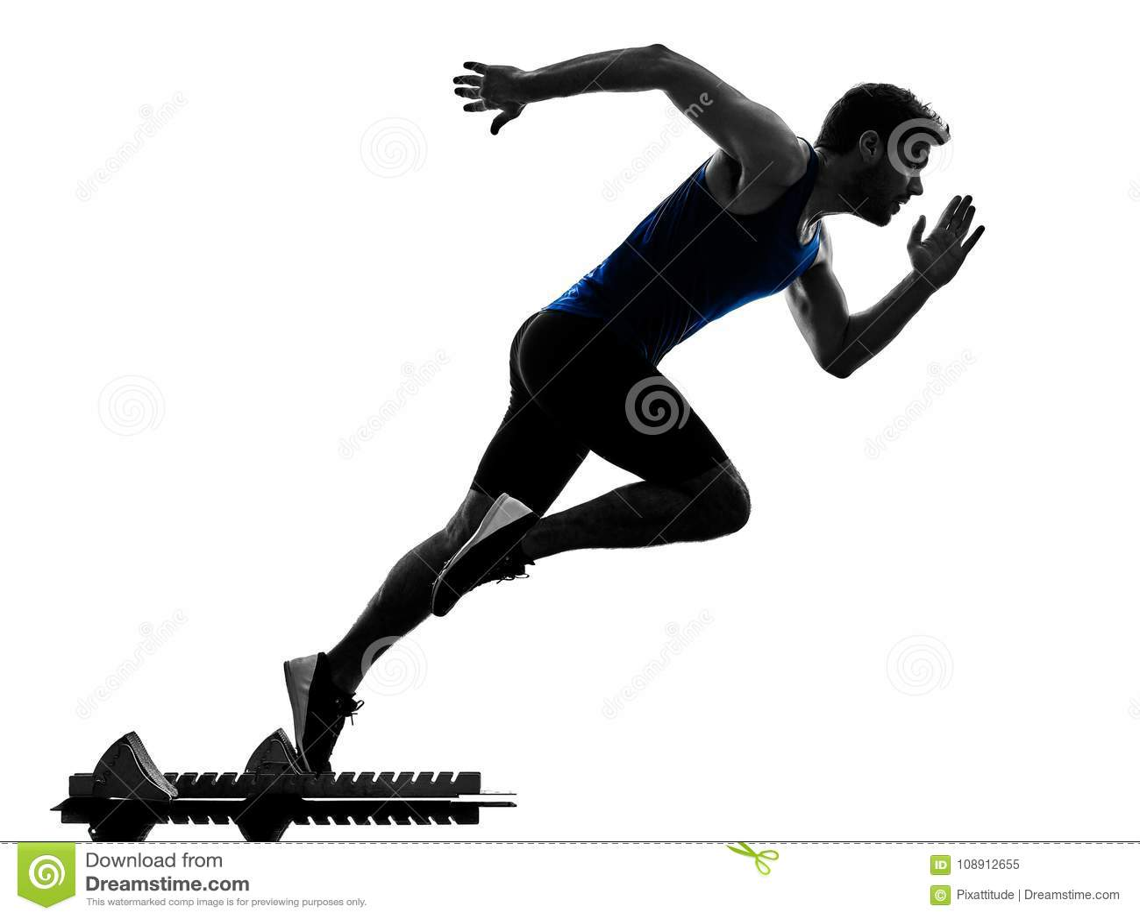 Velocista do corredor que corre correndo o isola da silhueta do homem do atletismo