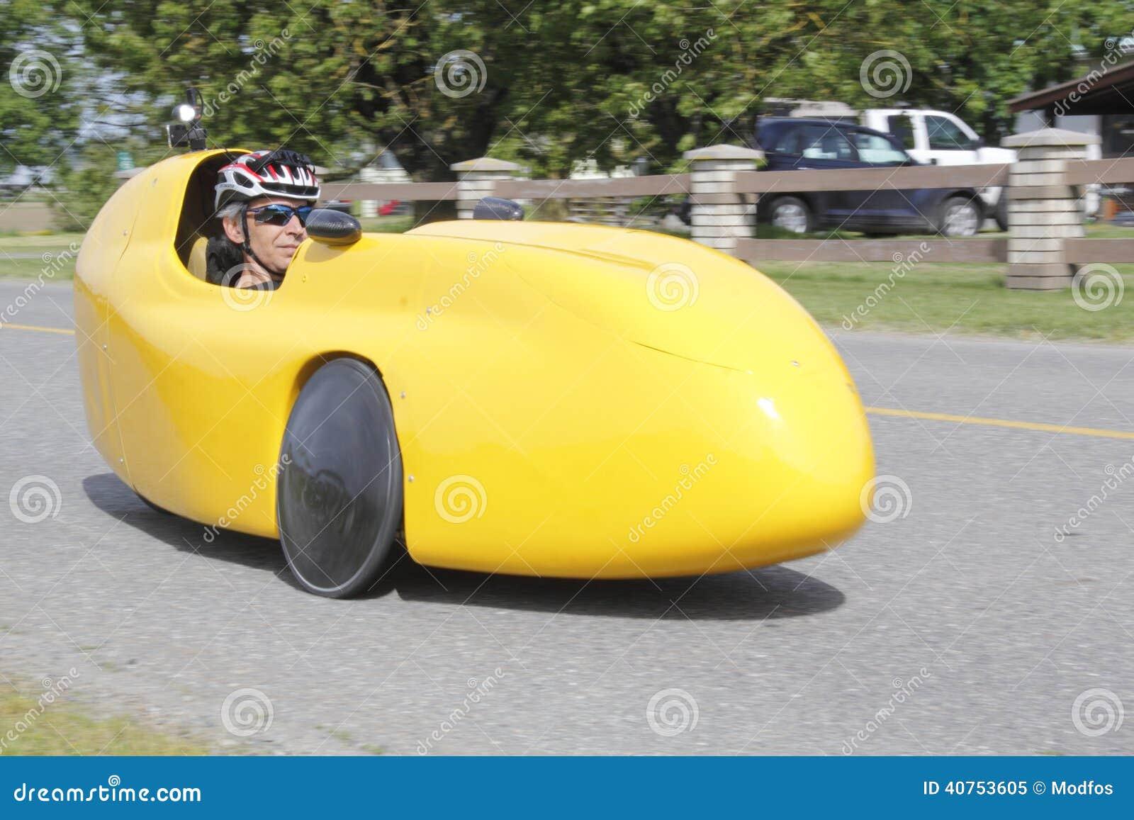 Velomobile Fahrrad Auto Oder Liegendes Fahrrad Stockbild
