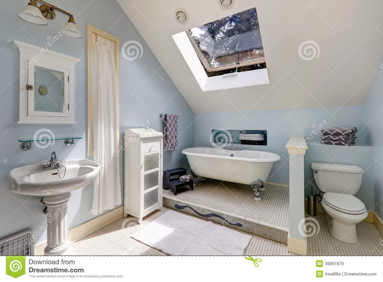 Picture of: Velux Bathroom With Antique Bath Tub Stock Image Image Of Glass Vaulted 39961879