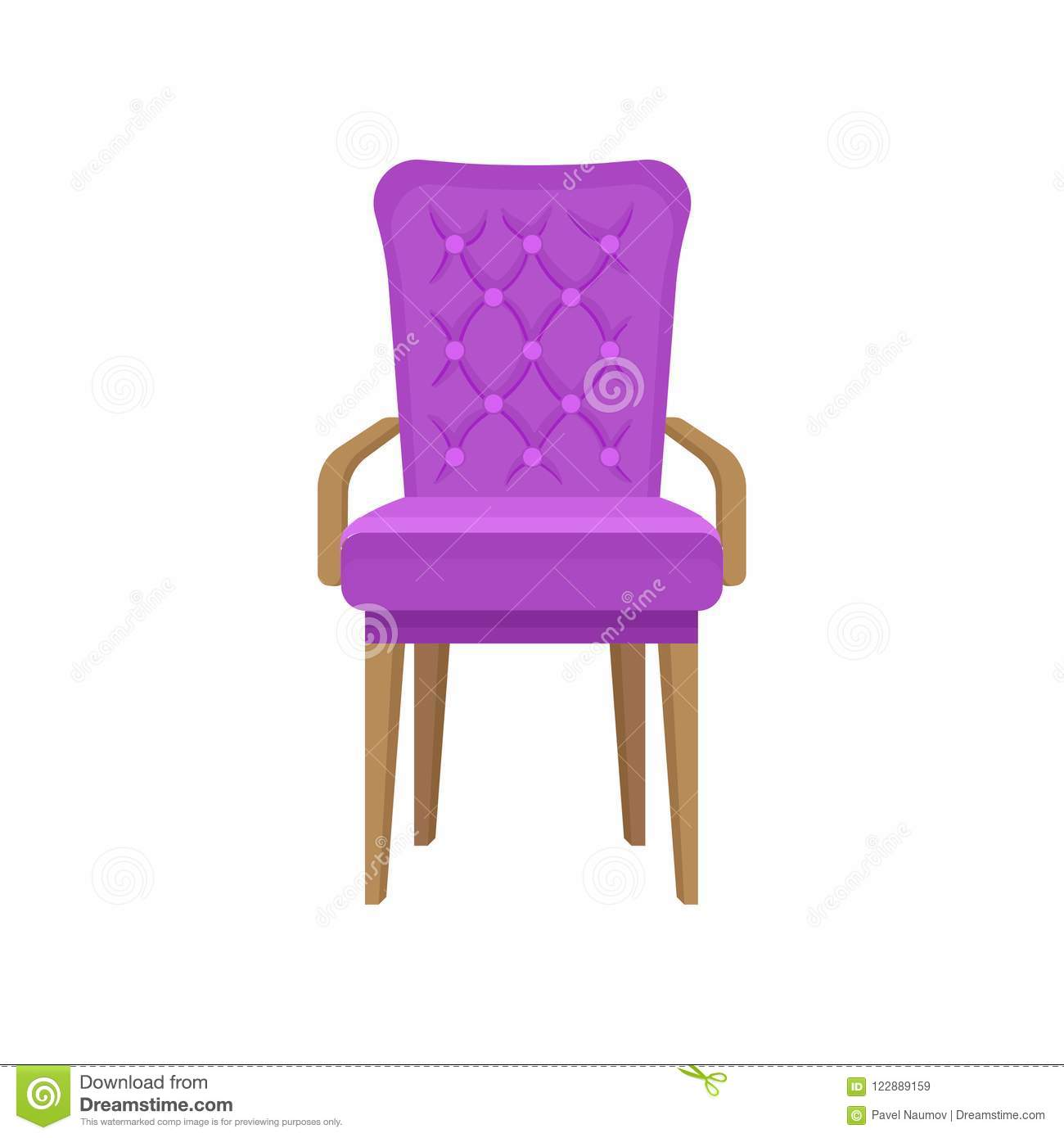 Velvet armchair living room furniture interior design element vector illustration isolated on a white background
