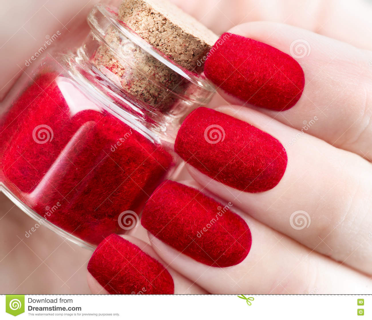 Velvet Nails Fashion Trendy Red Fluffy Nailart Design Stock Photo