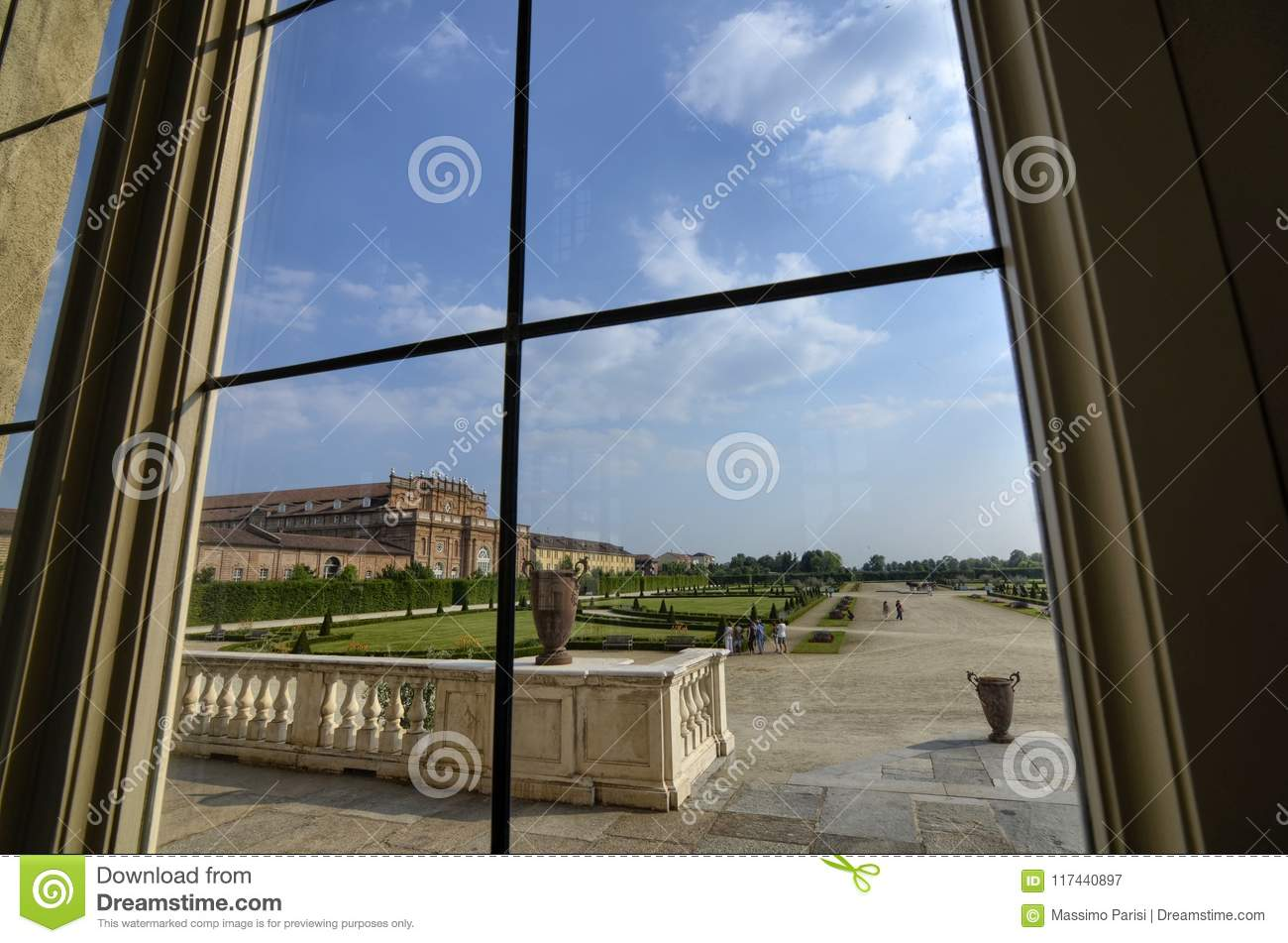 Venaria Reale, Piedmont region, Italy. June 2017. A look out on the majestic gardens of the palace