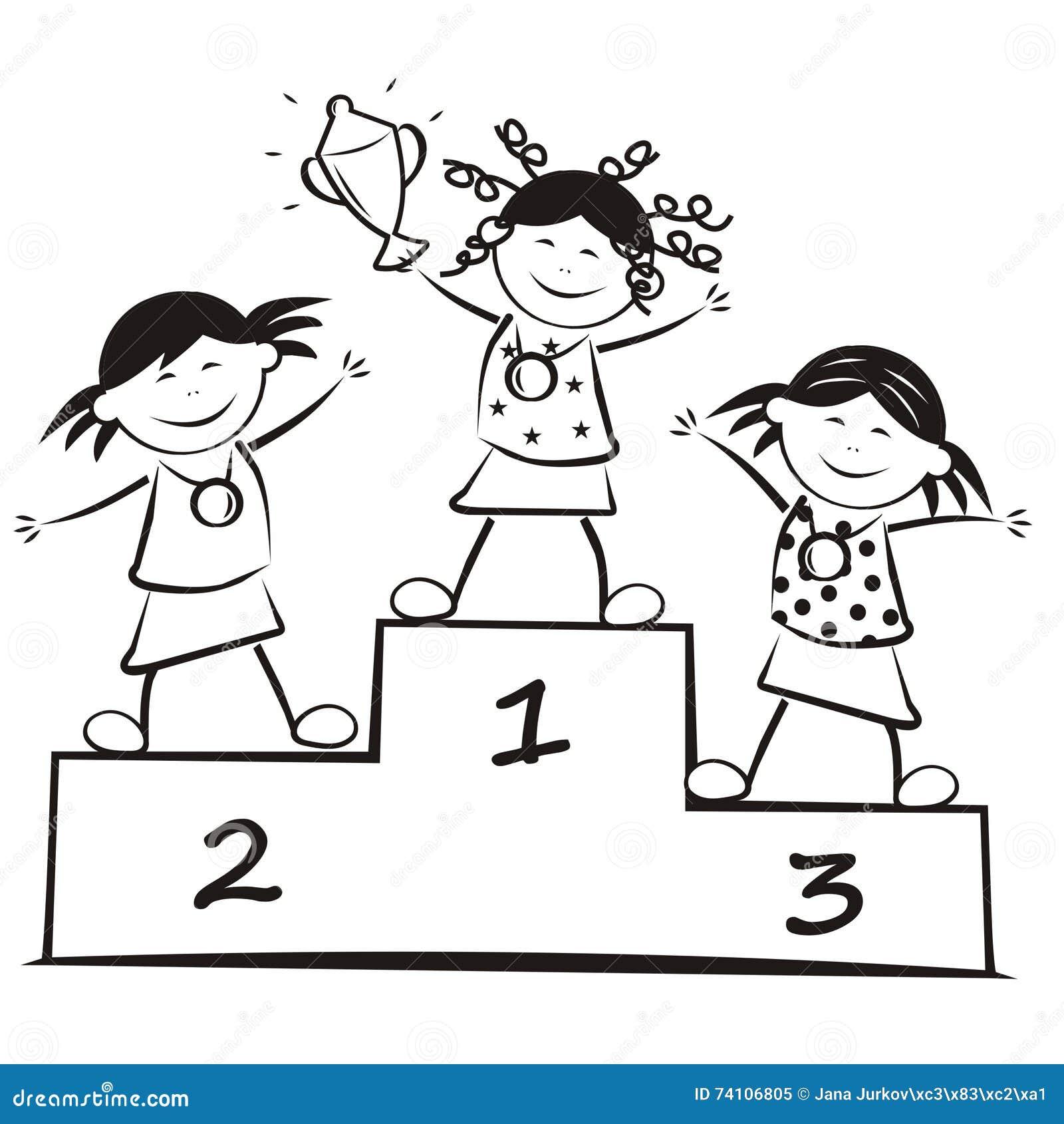 vencedores no p u00f3dio  livro para colorir ilustra u00e7 u00e3o do vetor