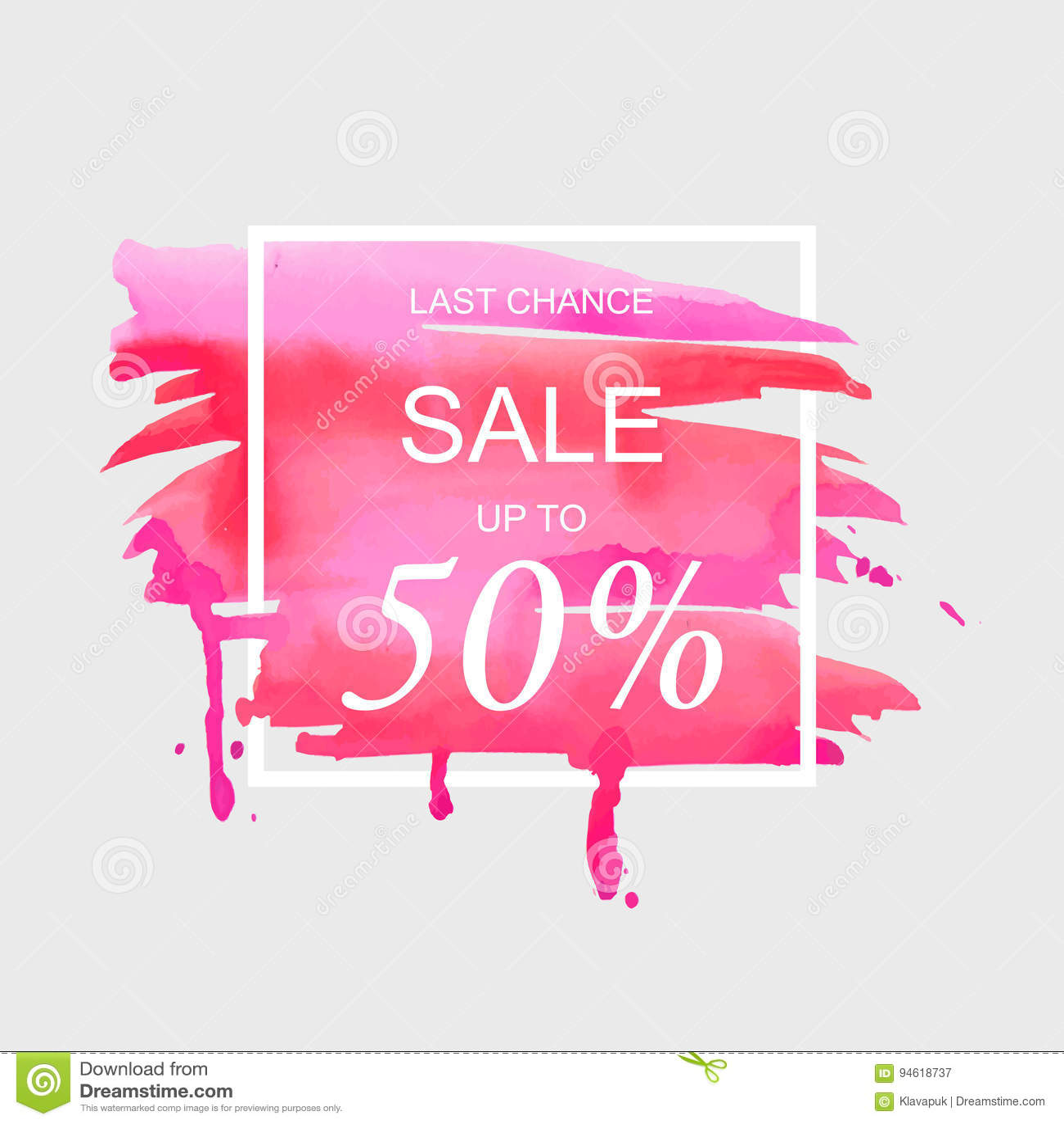 A venda até 50 por cento assina fora sobre a ilustração do vetor do fundo da textura do sumário da pintura do curso da aquarela d